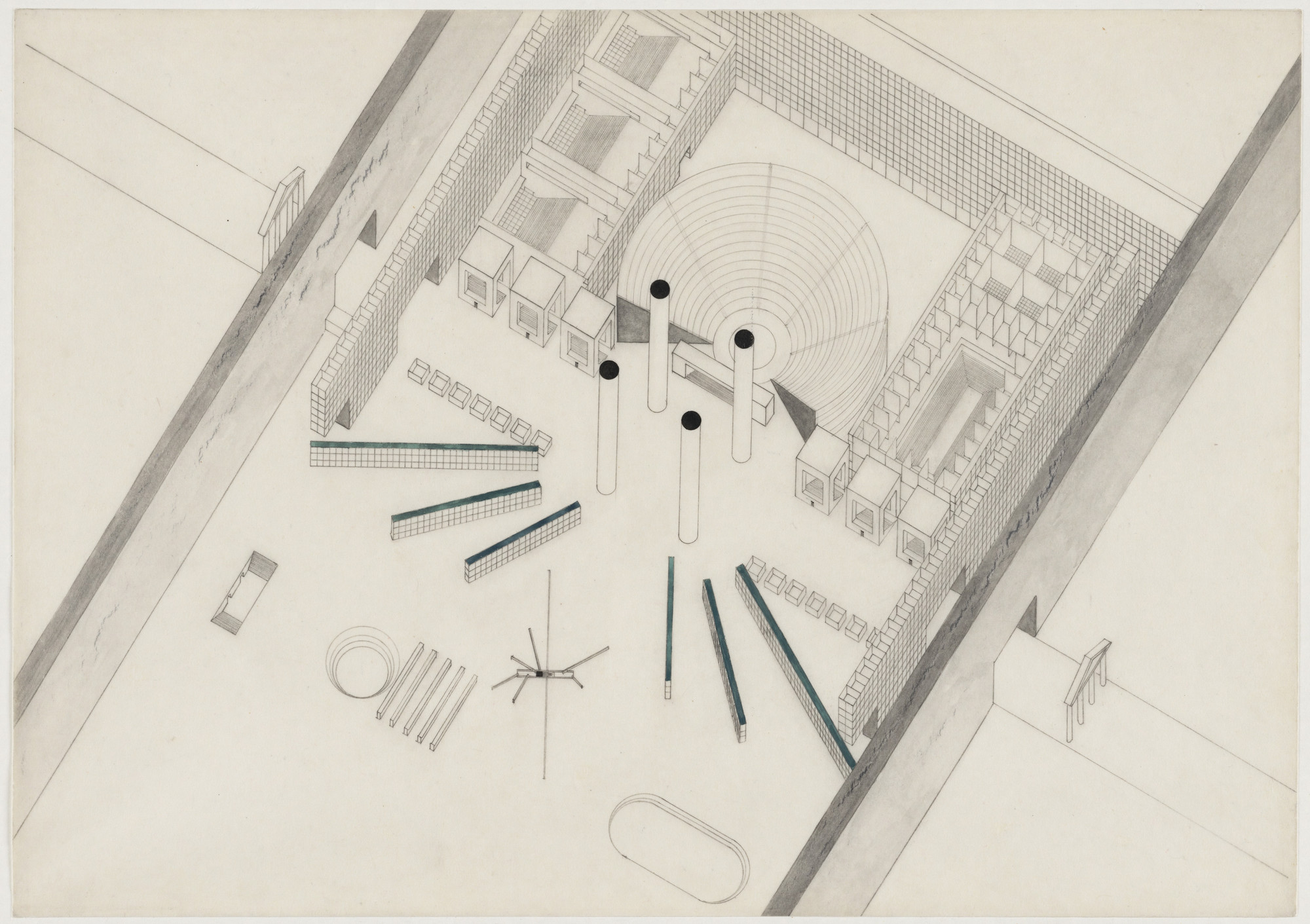 Rem Koolhaas, Elia Zenghelis, Madelon Vriesendorp, Zoe Zenghelis. Exodus, or the Voluntary Prisoners of Architecture: The Central Area (Plan). 1972