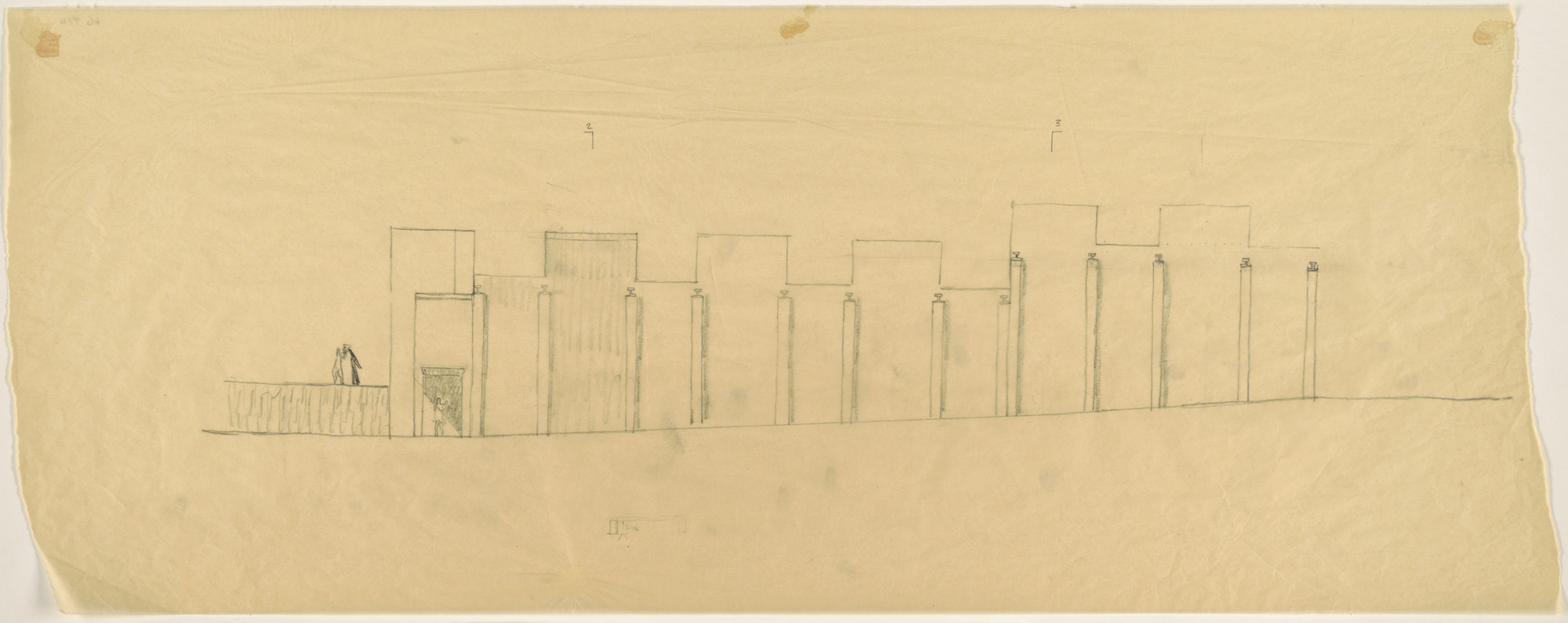 Louis I. Kahn. Tribune Review Publishing Company Building, Greensburg, Pennsylvania, Elevation sketch. 1958
