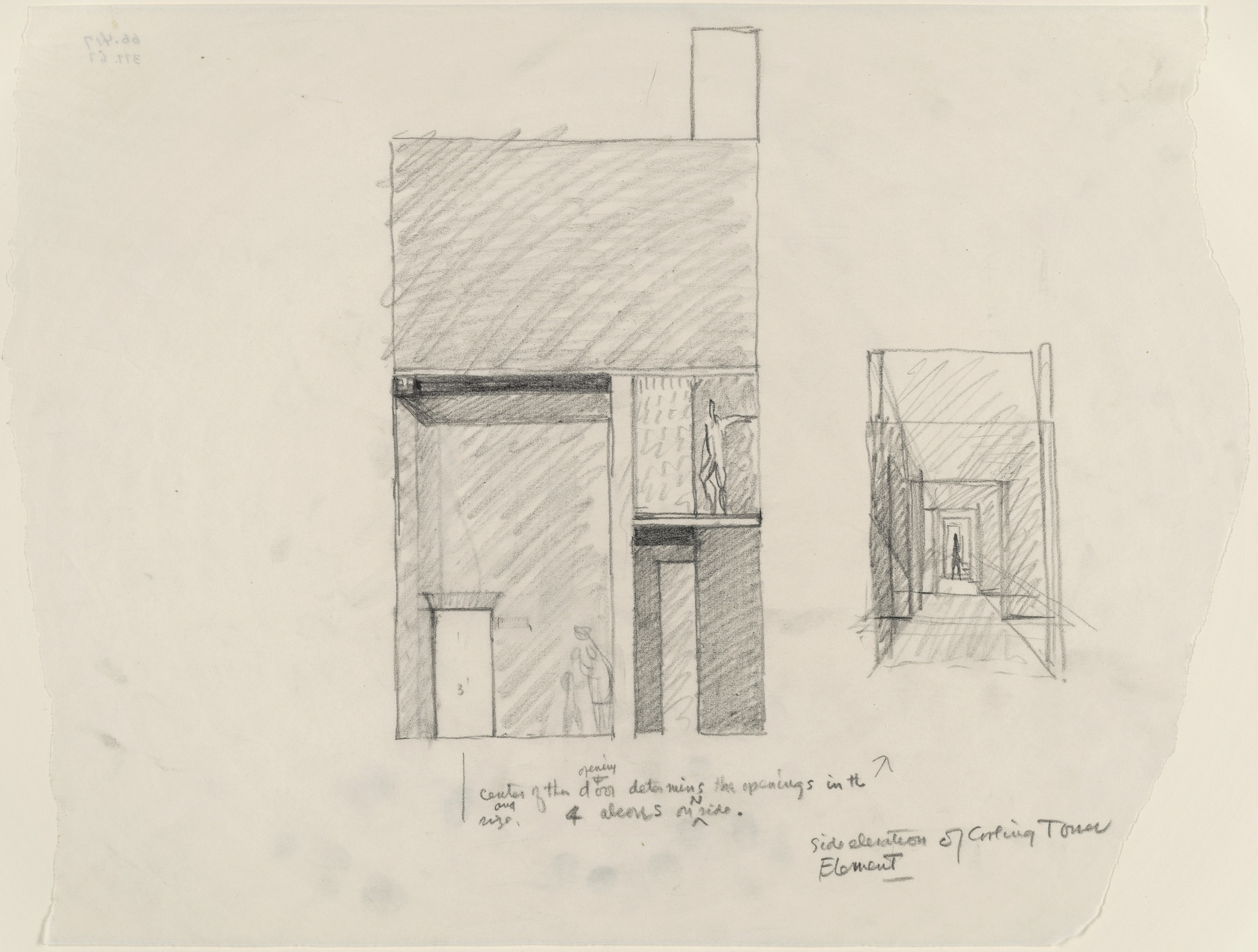 Louis I. Kahn. Tribune Review Publishing Company Building, Greensburg, Pennsylvania, Entrance elevation sketch. 1958