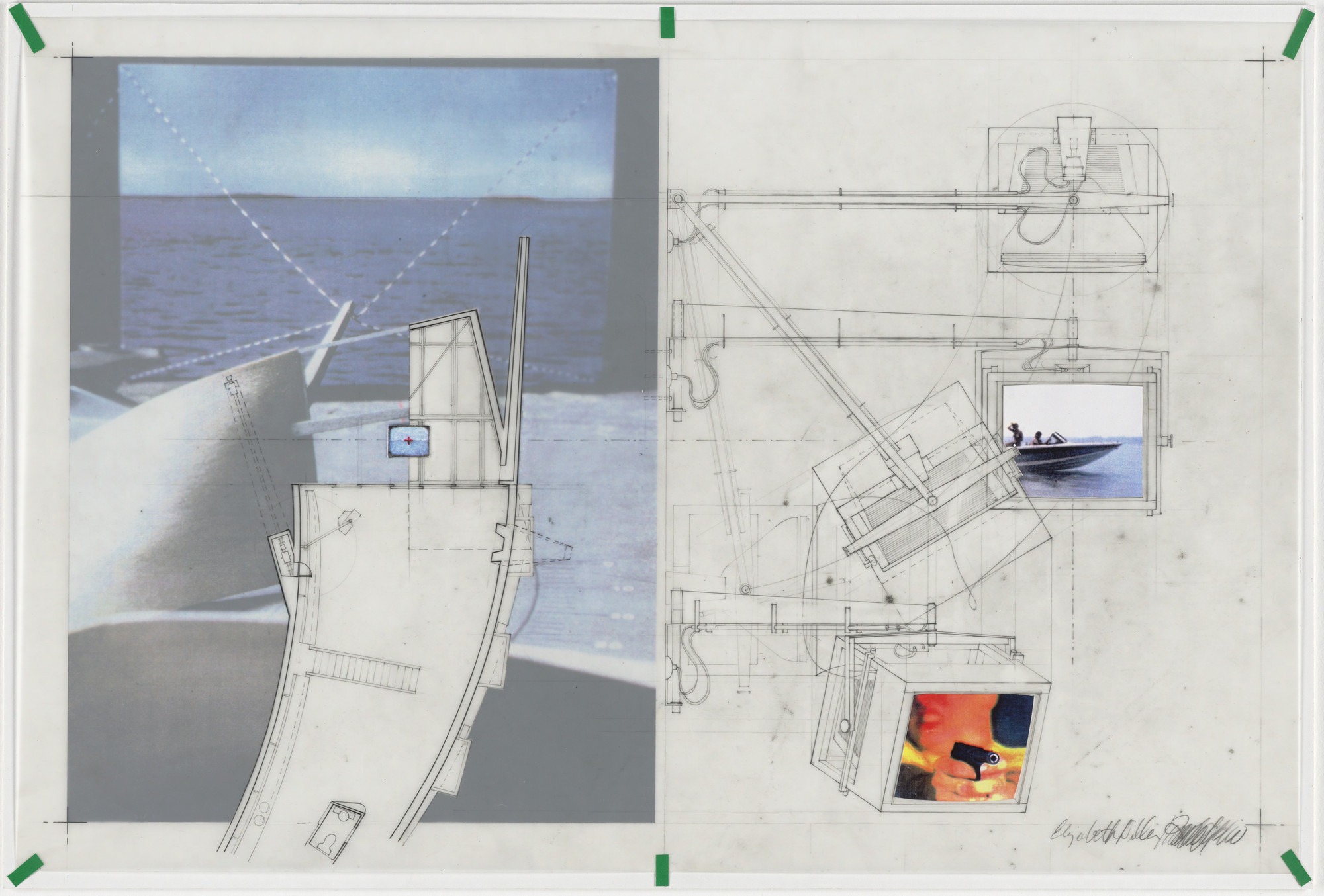 Diller + Scofidio, Elizabeth Diller, Ricardo Scofidio. Slow House Project, North Haven, Long Island, New York, Perspective and plans of TV in Picture Window Apparatus,. 1991