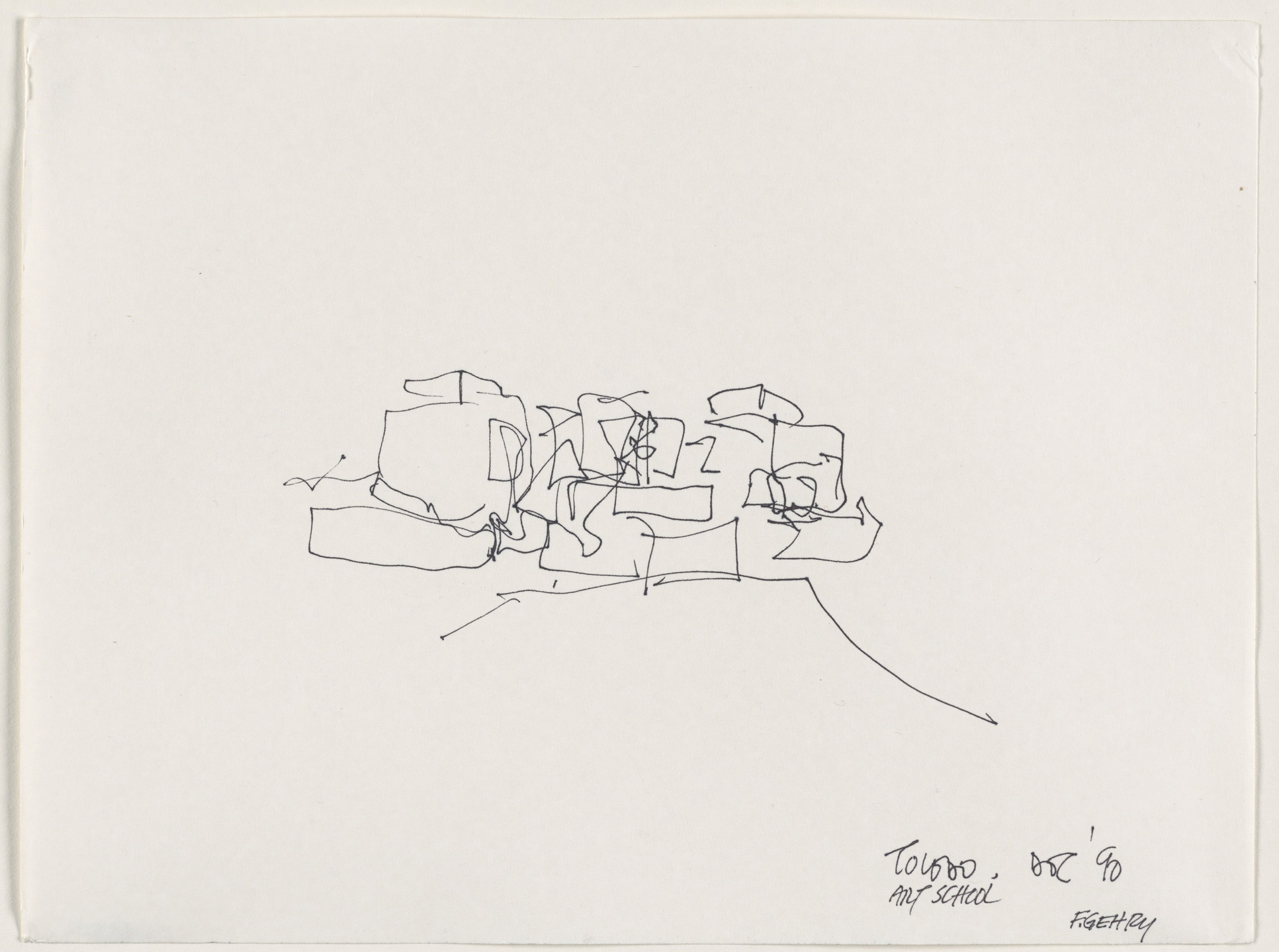Frank O. Gehry. University of Toledo Center for the Visual Arts, Toledo, Ohio, Exterior perspective. 1990