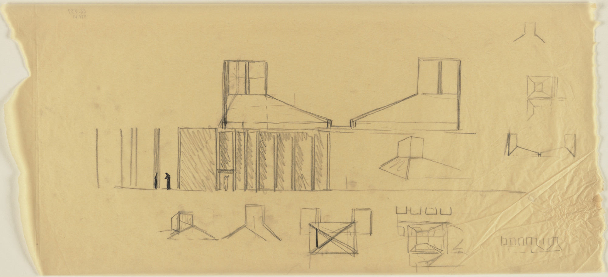 Louis I. Kahn. First Unitarian Church and School, Rochester, New York, Roof-structure and light-element sketches. 1969