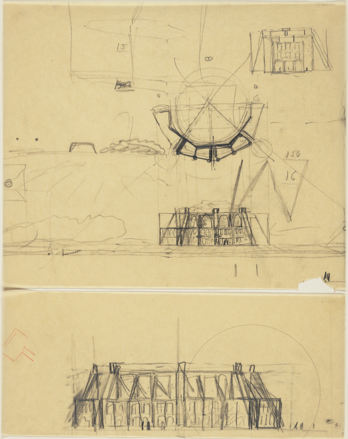 Louis I. Kahn. First Unitarian Church and School, Rochester, New York, Plan, elevation, and perspective sketches. 1959