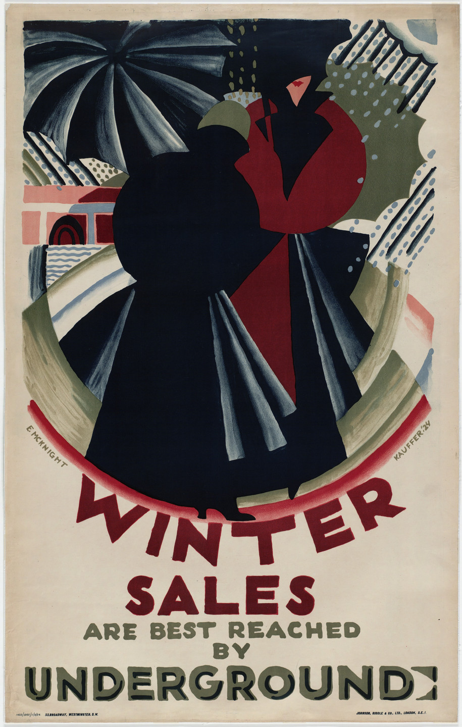 E. McKnight Kauffer. Winter Sales Are Best Reached by Underground. 1924