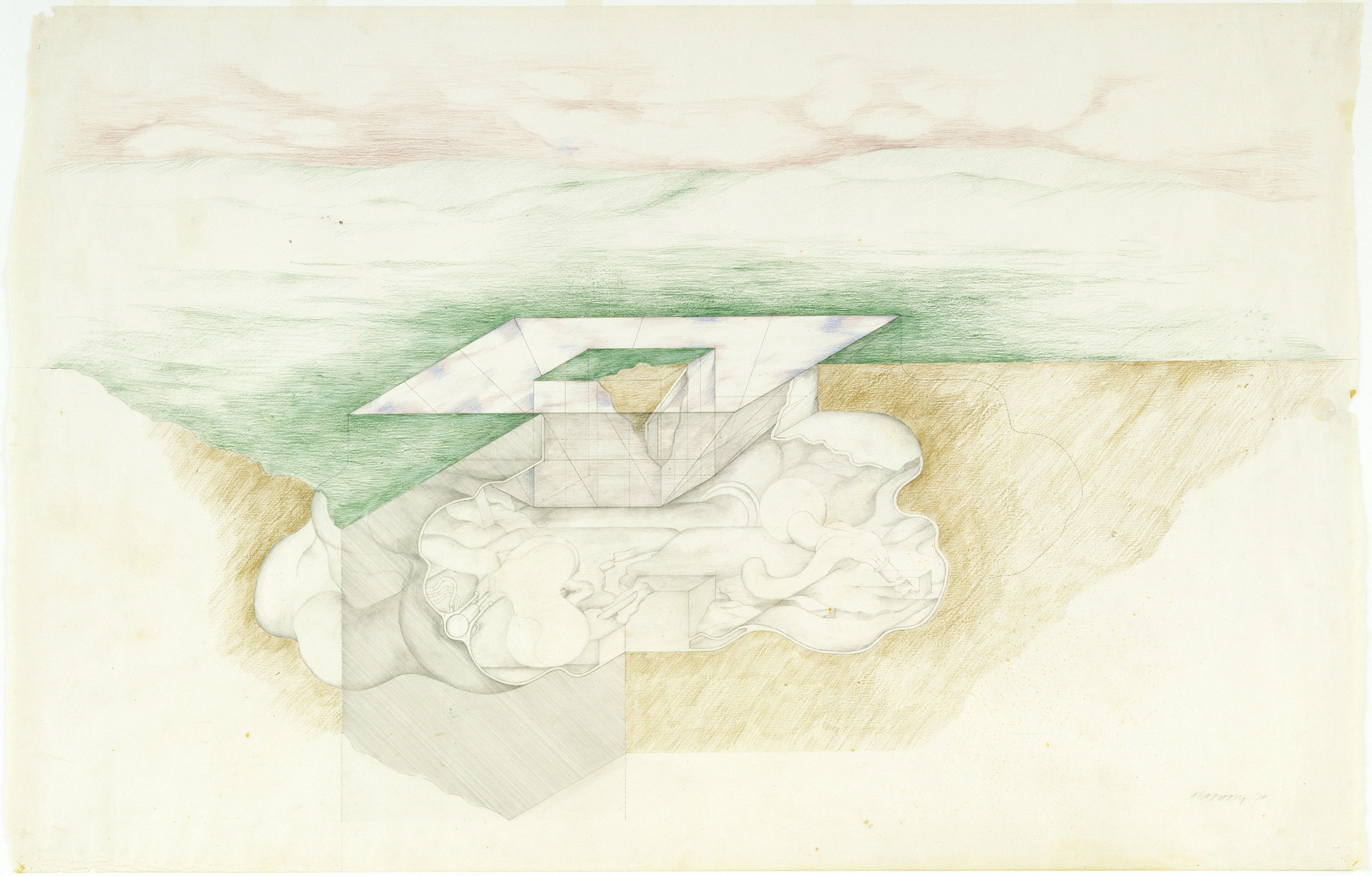 Raimund Abraham. Earth-Cloud House, project. 1970