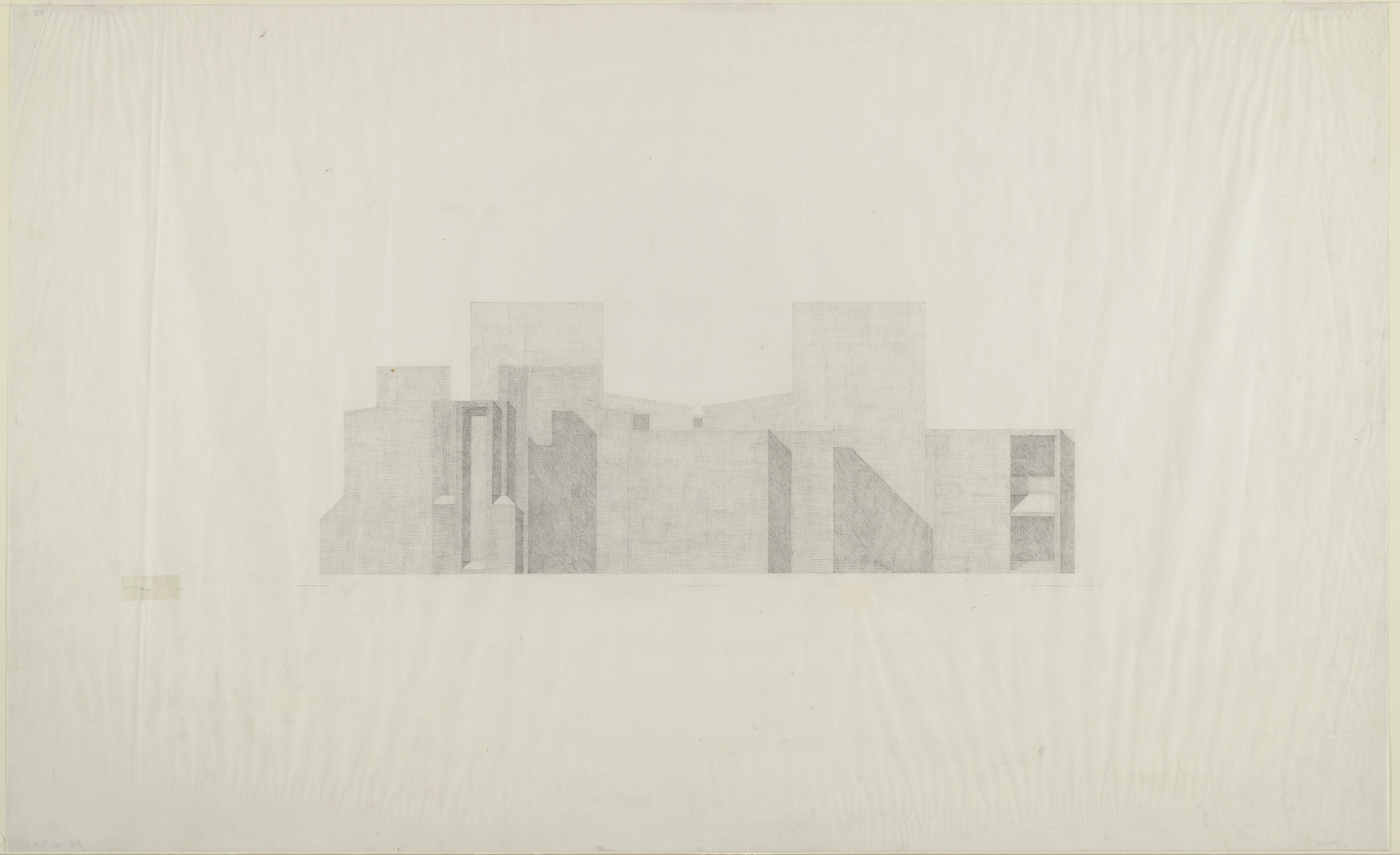 Louis I. Kahn. First Unitarian Church and School, Rochester, New York, Final version: elevation. 1961