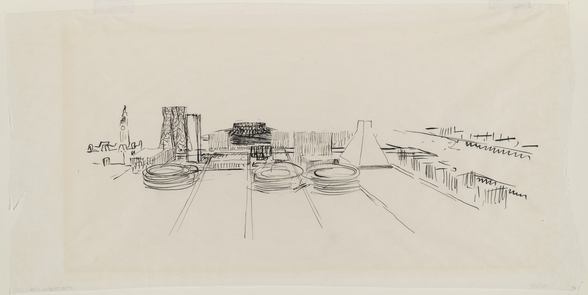 Louis I. Kahn. Civic Center Studies, project, Philadelphia, Pennsylvania, Aerial perspective. 1956-57