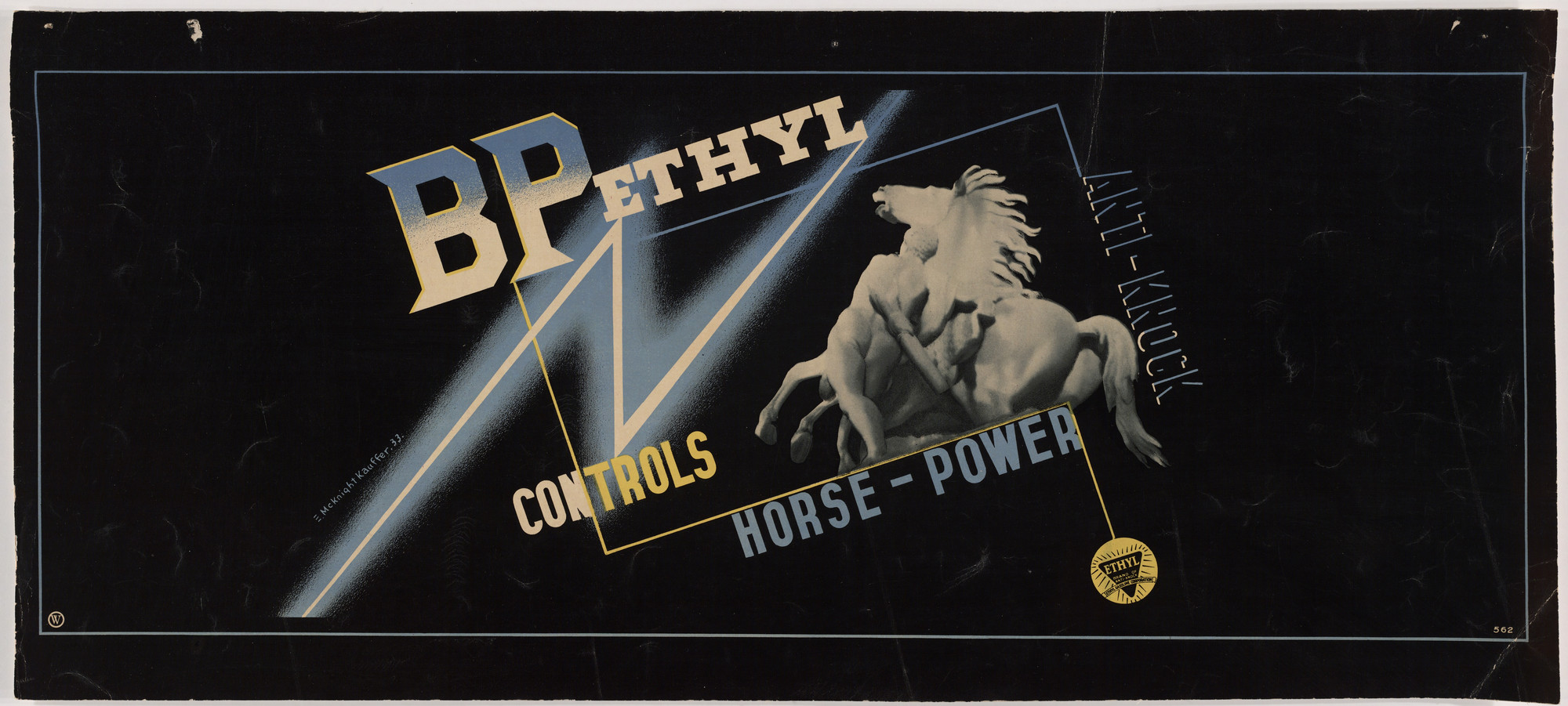 E. McKnight Kauffer. B.P. Ethyl Anti-Knock Controls Horse-Power. 1933