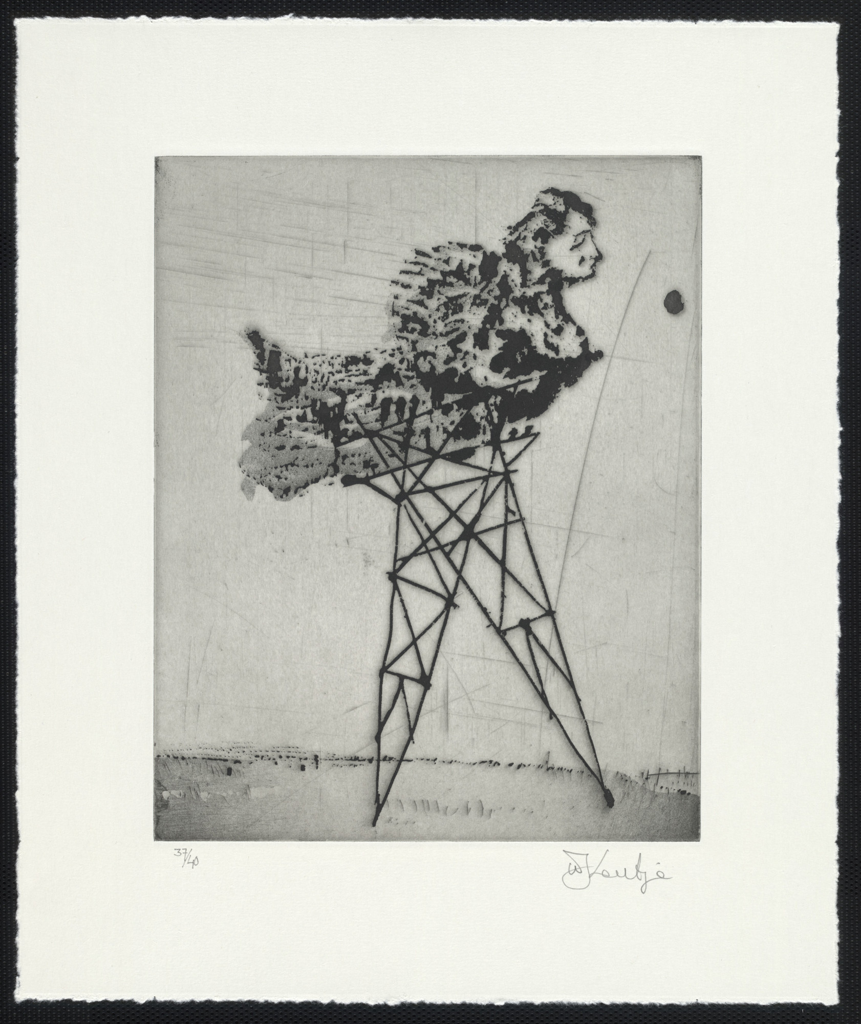 William Kentridge. Pylon Lady from Zeno at 4 A.M.. 2001