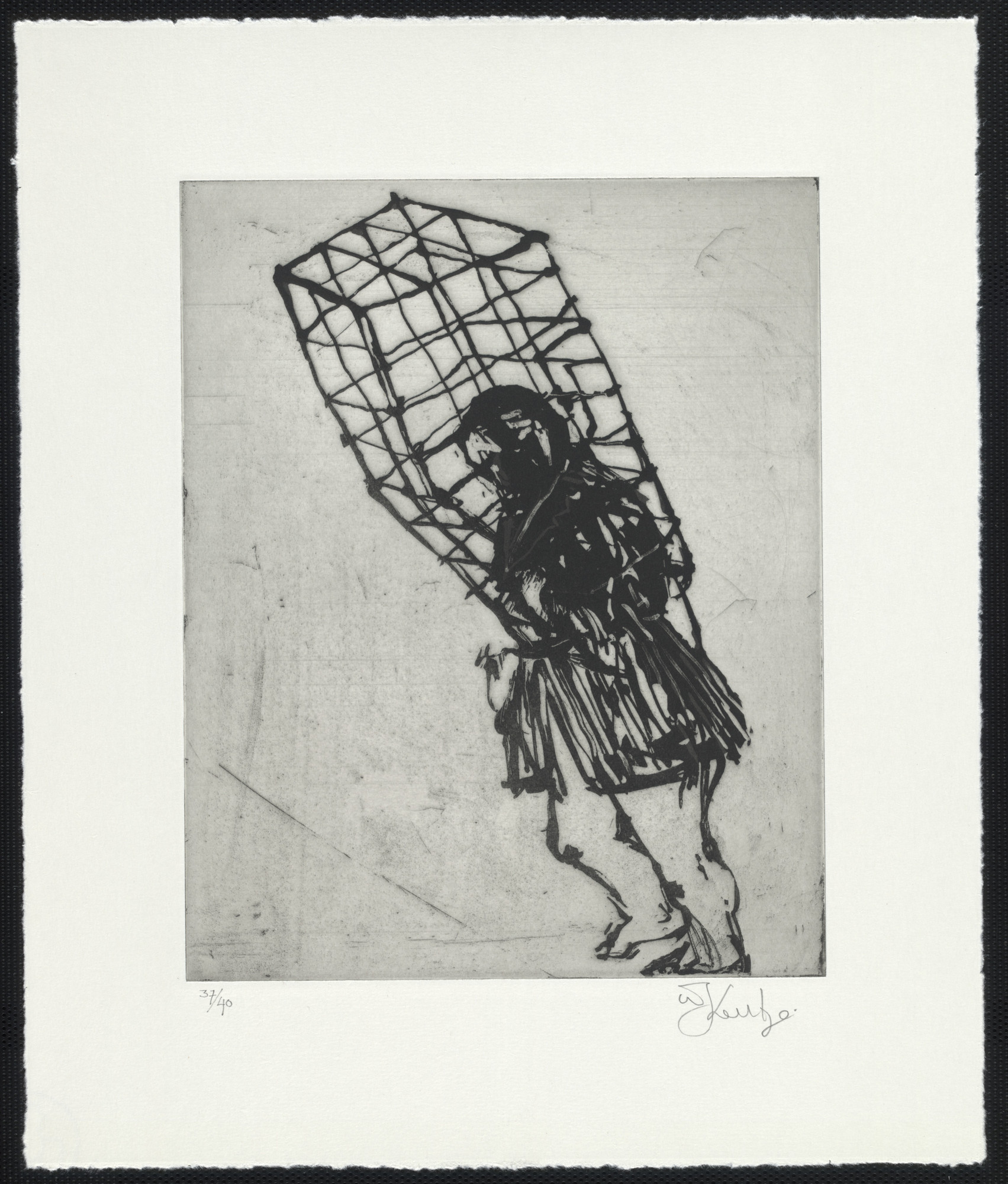 William Kentridge. Caged Lady from Zeno at 4 A.M.. 2001