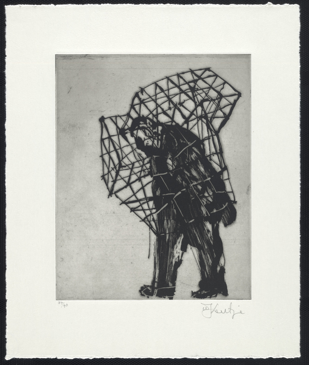 William Kentridge. Caged Man from Zeno at 4 A.M.. 2001