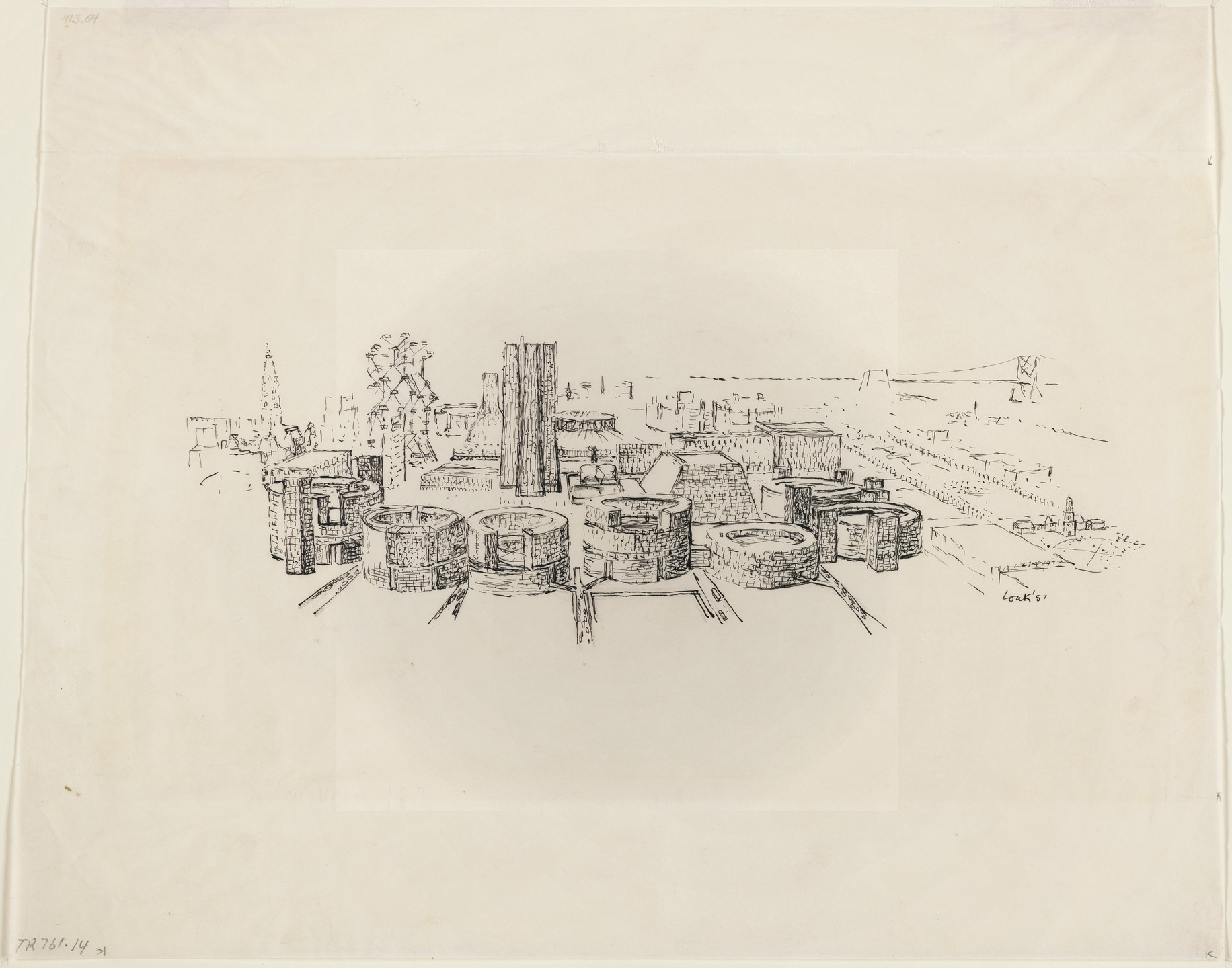 Louis I. Kahn. Civic Center, project, Philadelphia, Pennsylvania, Aerial perspective. 1957