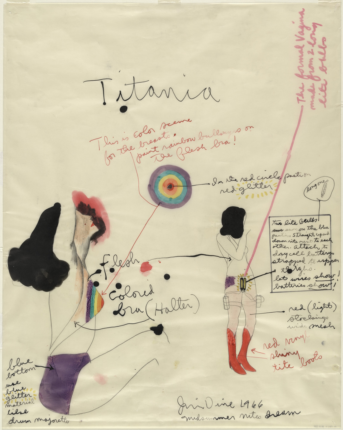 Jim Dine. Titania. Costume design for the play A Midsummer Night's Dream. 1966