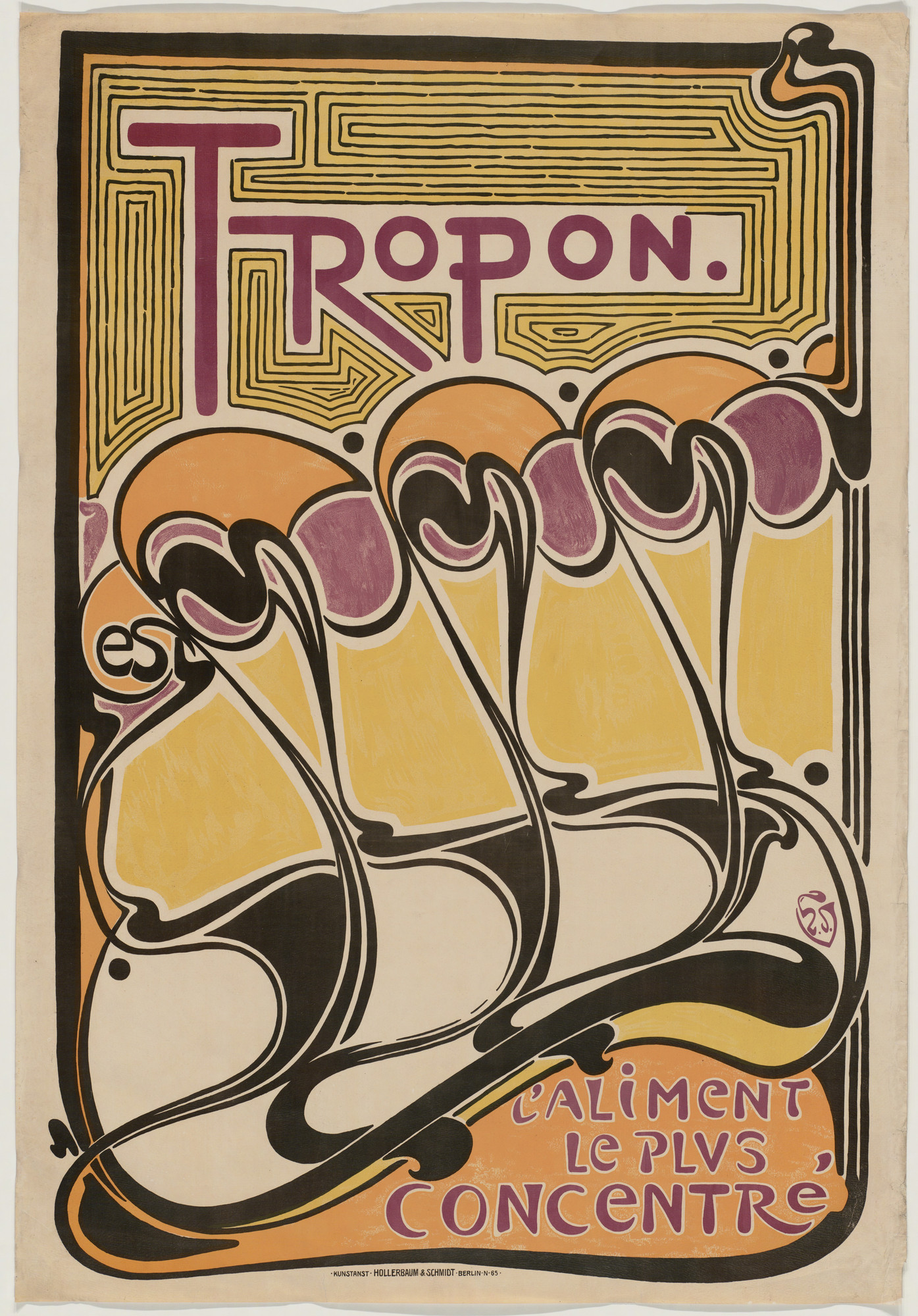 Henry Clemens van de Velde. Tropon, l'Aliment Le Plus Concentré (Tropon, the most concentrated nourishment) (Poster advertising protein extract). 1899