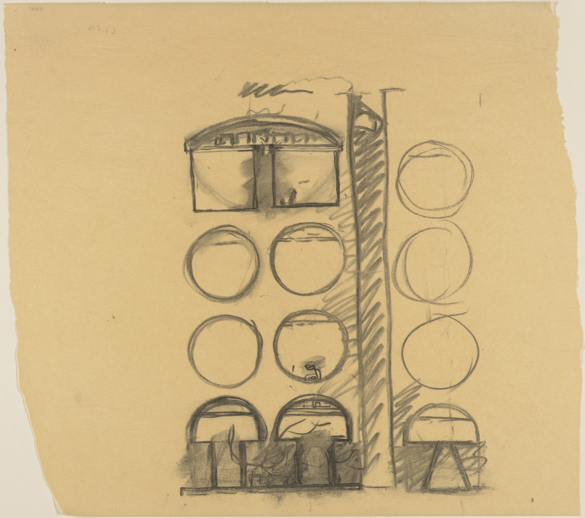 Louis I. Kahn. Sher-e-Bangla Nagar, Capital of Bangladesh, Dhaka, Bangladesh, Sketch of light elements for hostels. 1964