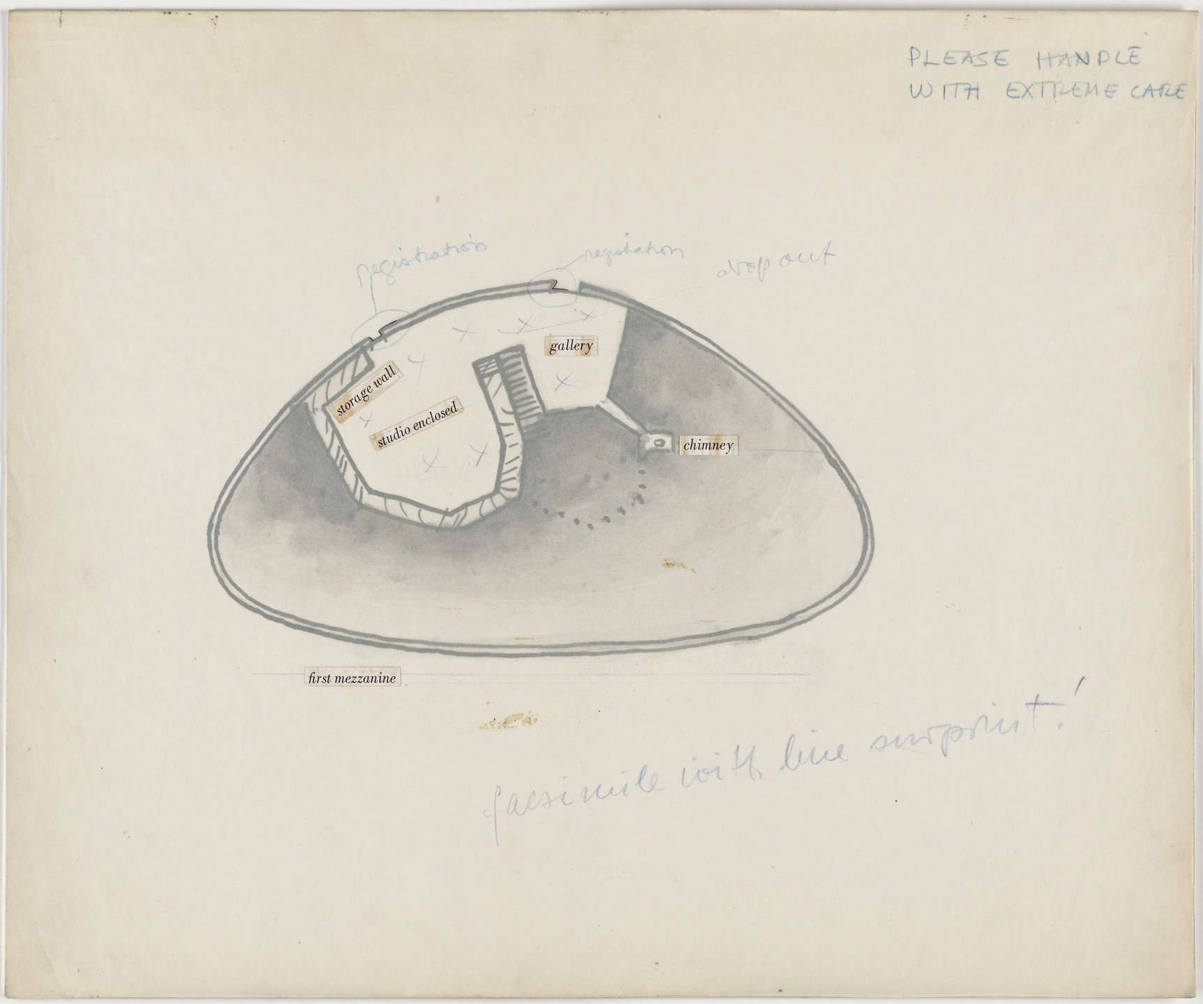 Frederick Kiesler. Endless House Project. Plan of first mezzanine. 1951