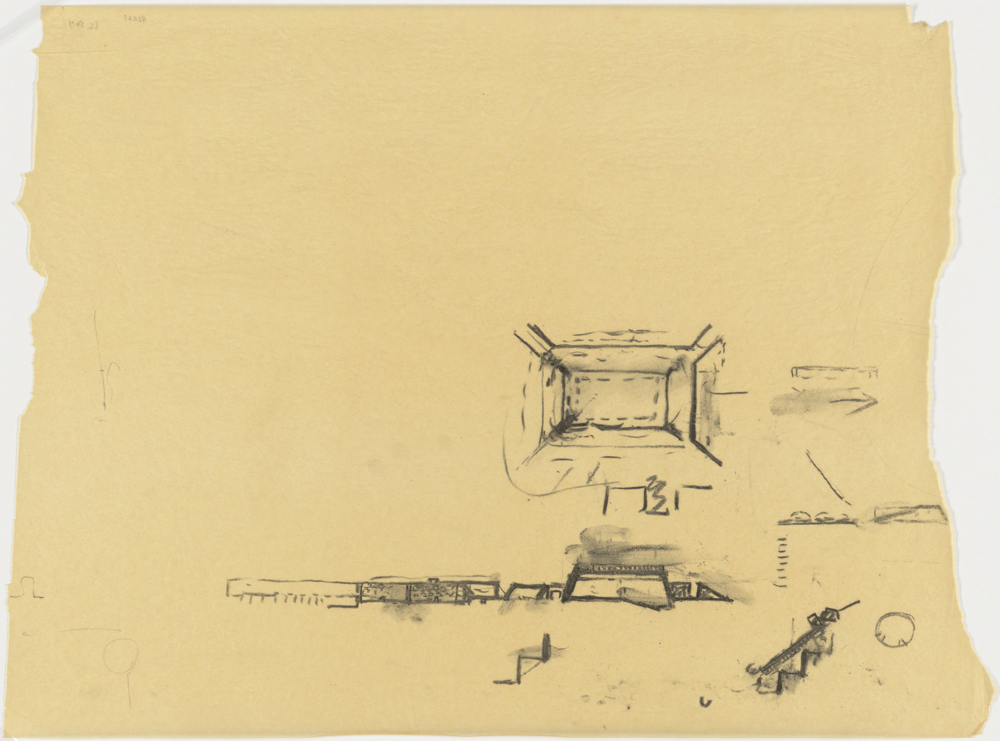 Louis I. Kahn. Indian Institute of Management, Ahmedabad, India, Plan and elevation sketches of classroom building. 1963