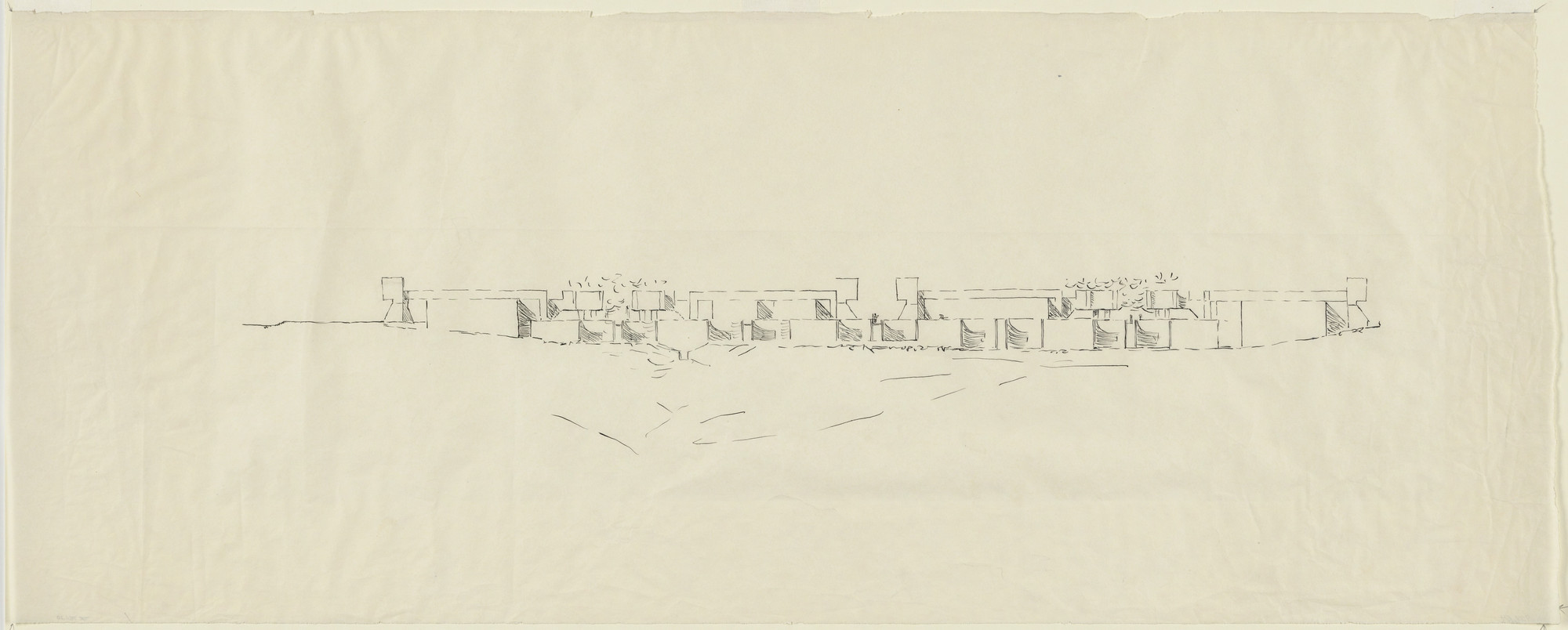Louis I. Kahn. Salk Institute for Biological Studies (laboratory, meeting house, and housing), La Jolla, California, (Elevation of laboratory). 1961