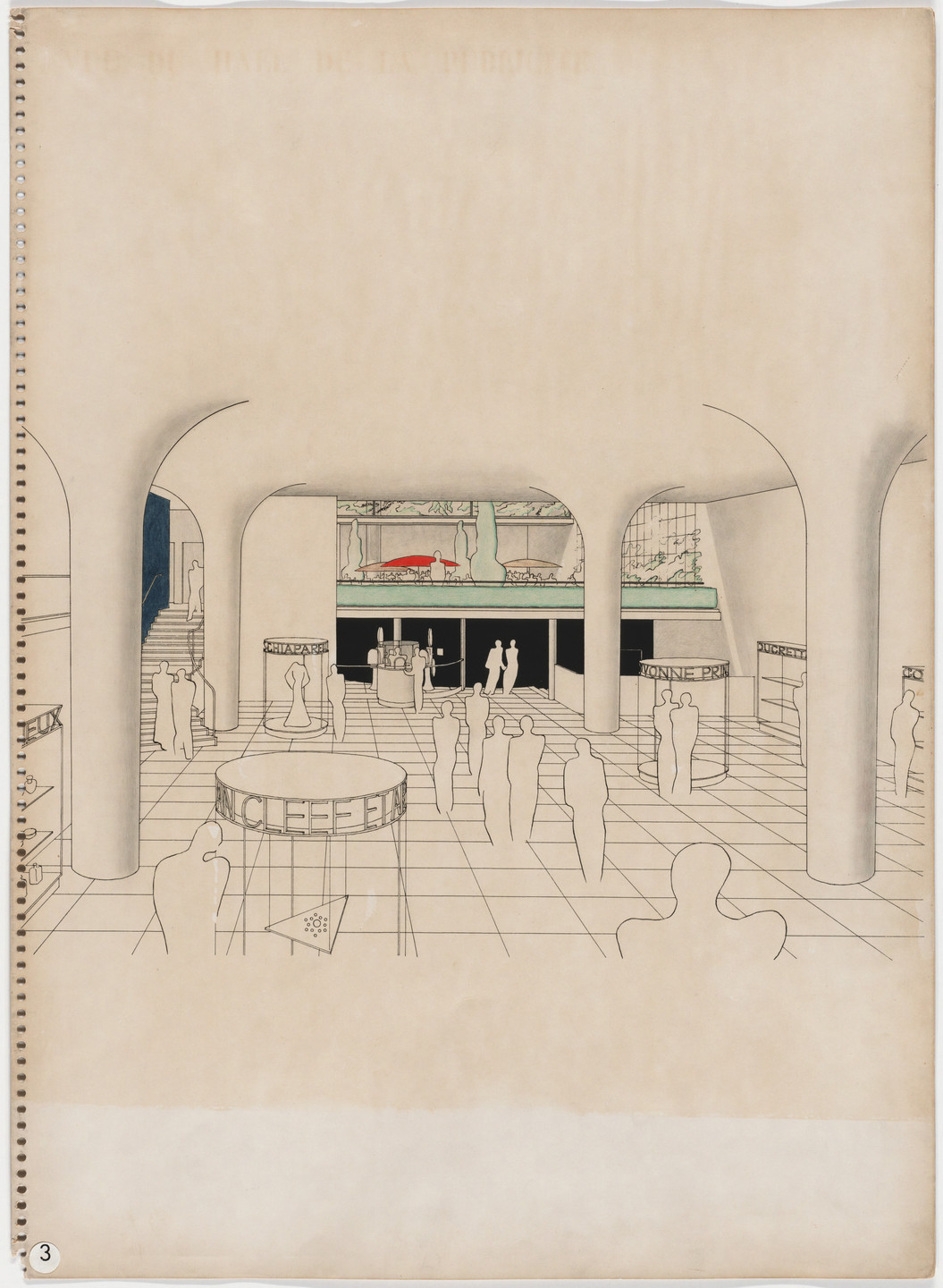 Oscar Nitzchke. Maison de la Publicité Project, Paris, France (Perspective of entry and exhibition space). 1936