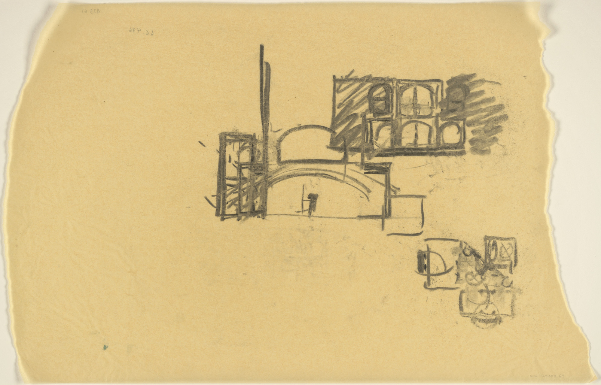 Louis I. Kahn. Indian Institute of Management, Ahmedabad, India, Plan and elevation sketches of dormitory. 1964