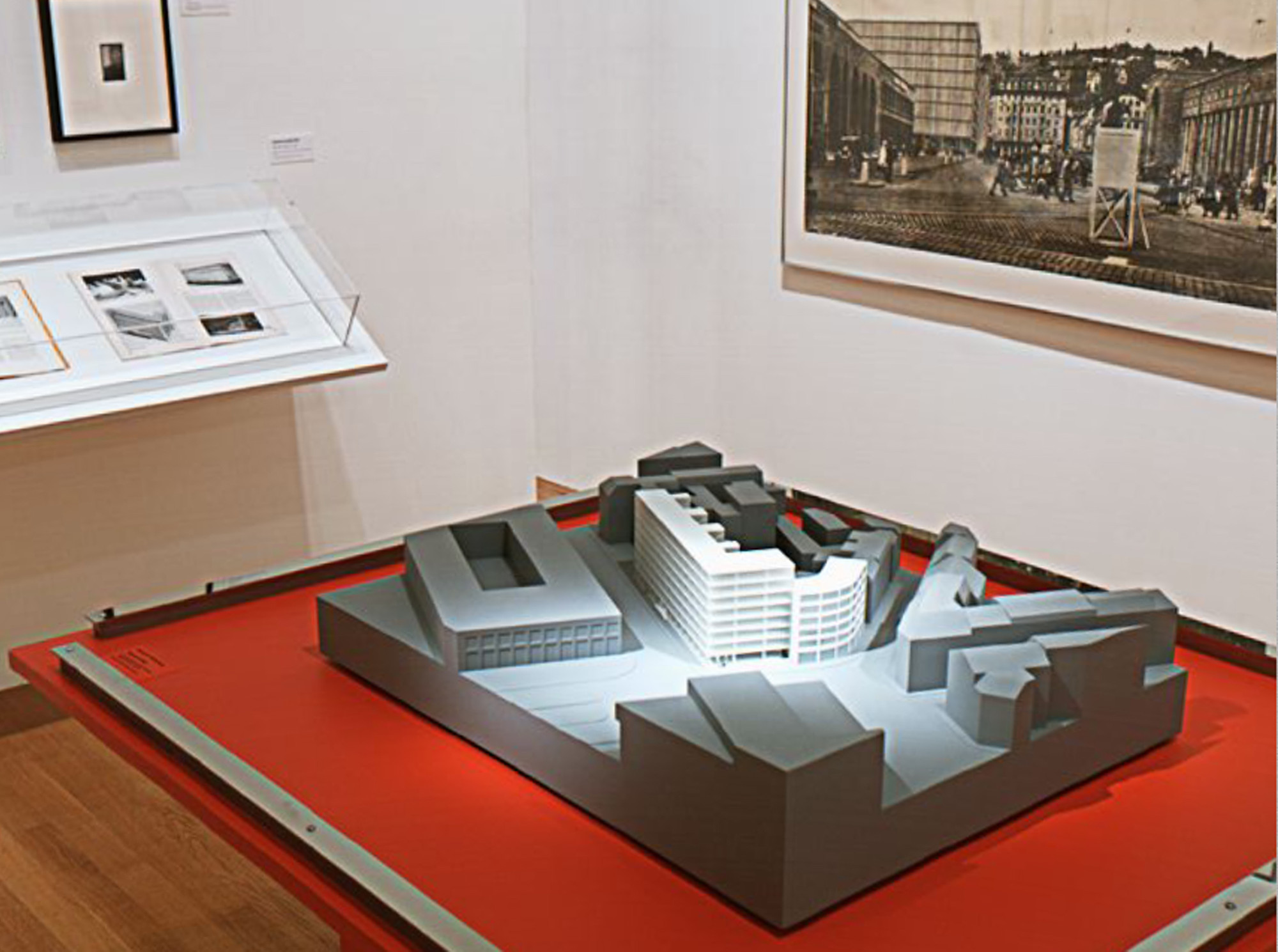 Ludwig Mies van der Rohe. Bank and Office Building, project, Stuttgart, Germany, Urban context model. 1928