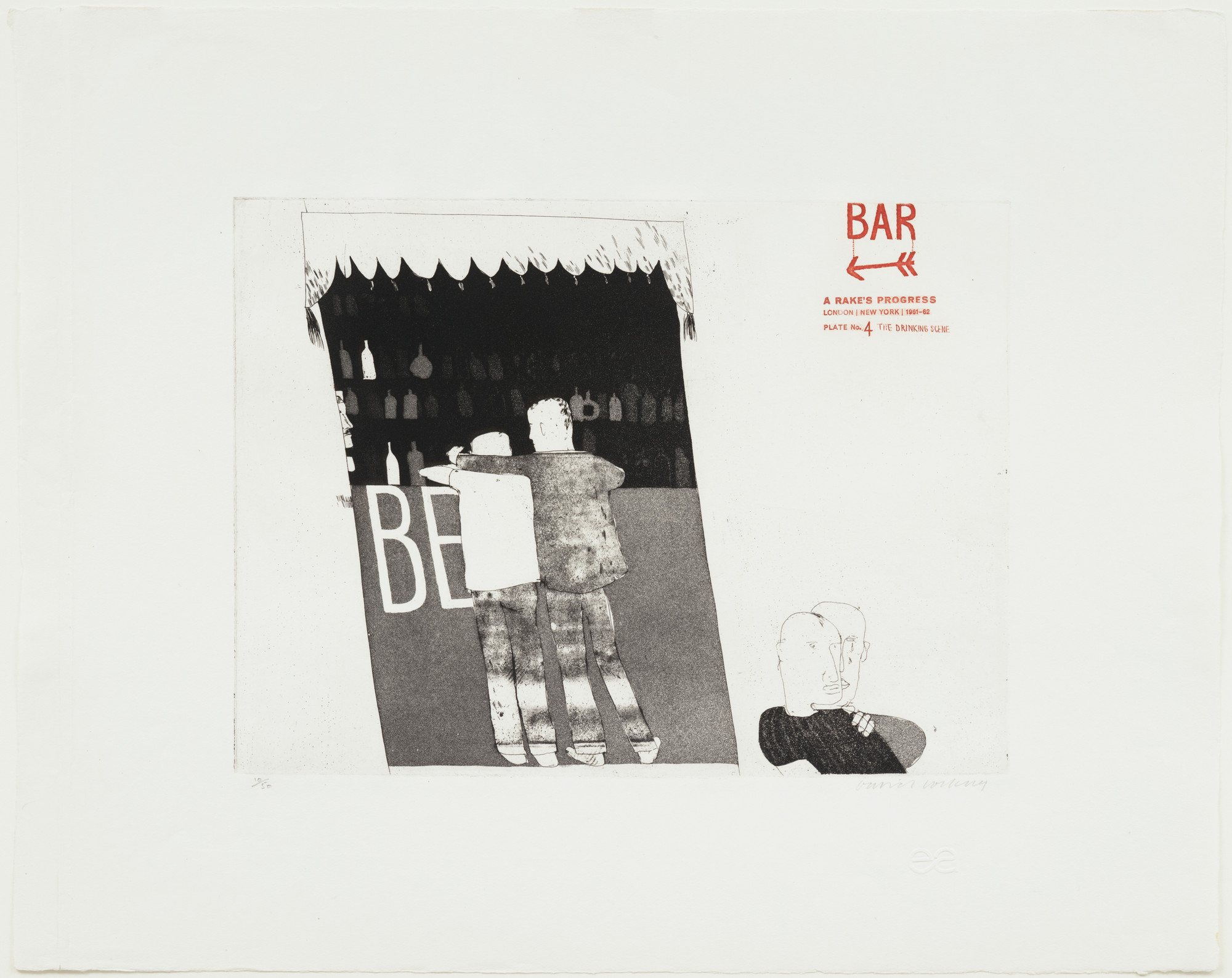 David Hockney. The Drinking Scene (plate 4) from A Rake's Progress. 1961–62, published 1963