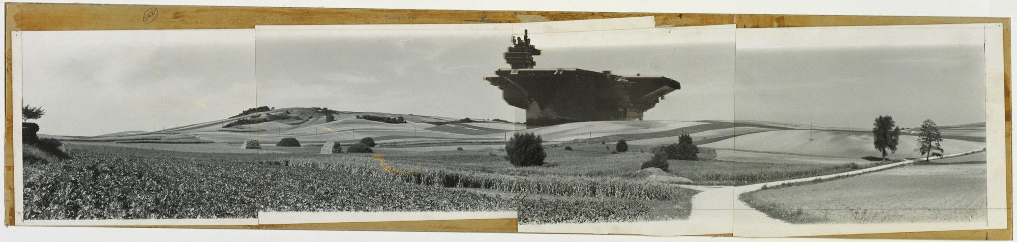 Hans Hollein. Aircraft Carrier City in Landscape, project, Exterior perspective. 1964