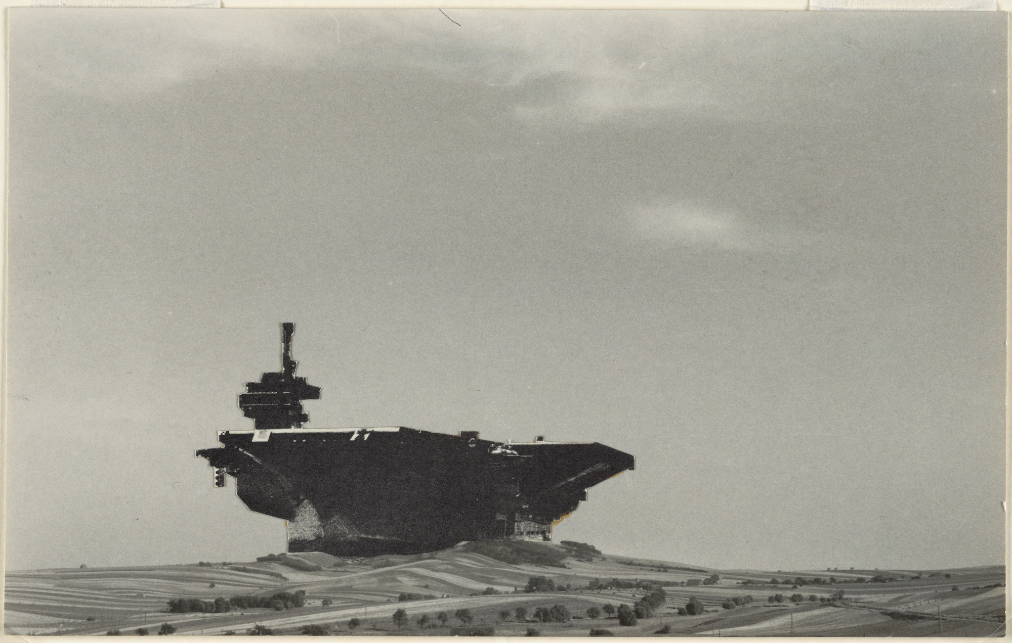 Hans Hollein. Aircraft Carrier City in Landscape, project, Perspective. 1964