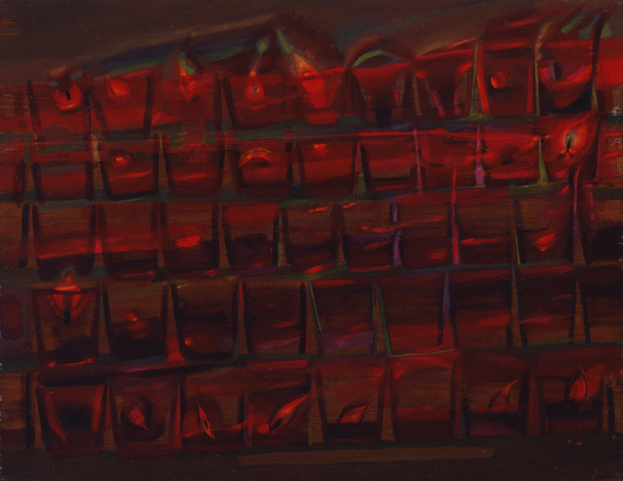 Loren MacIver. Red Votive Lights. 1943