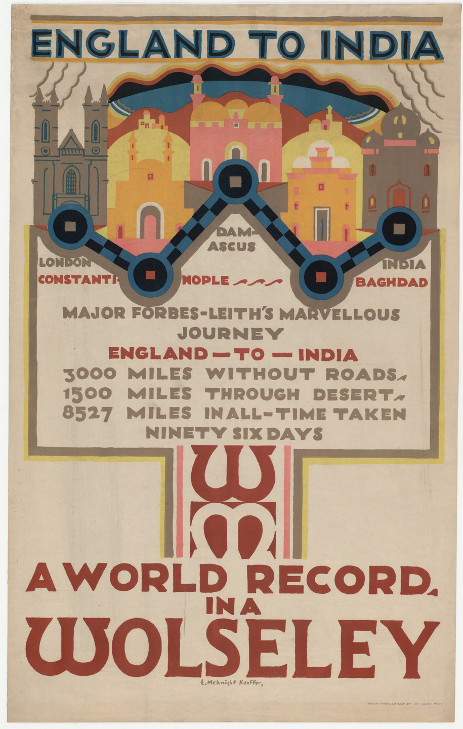 E. McKnight Kauffer. England to India, A World Record in a Wolseley. 1925