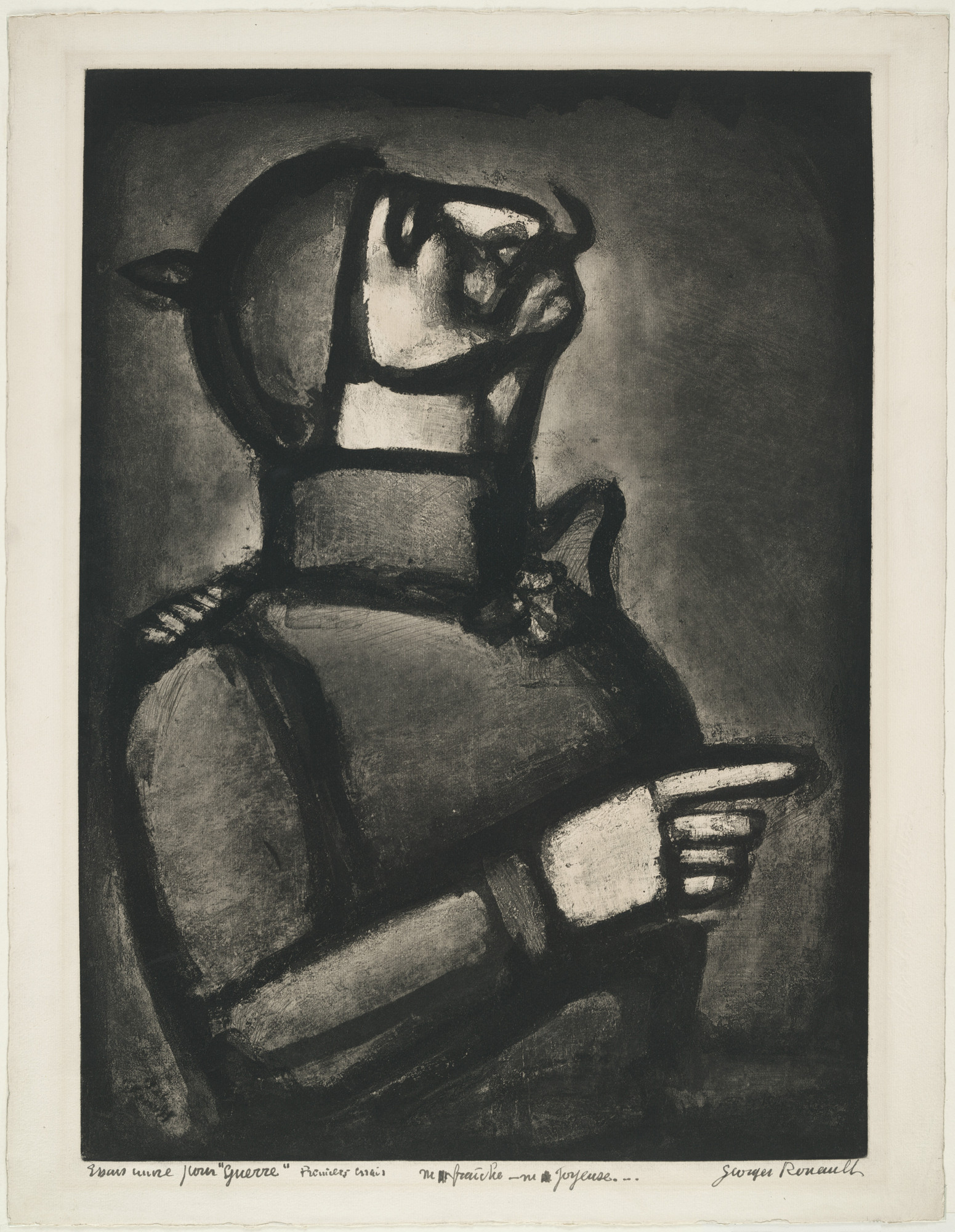 Georges Rouault. Plus le coeur est noble, moins le col est roide (The Nobler the Heart, the Less Stiff the Collar) for the illustrated book Miserere. 1926, published 1948