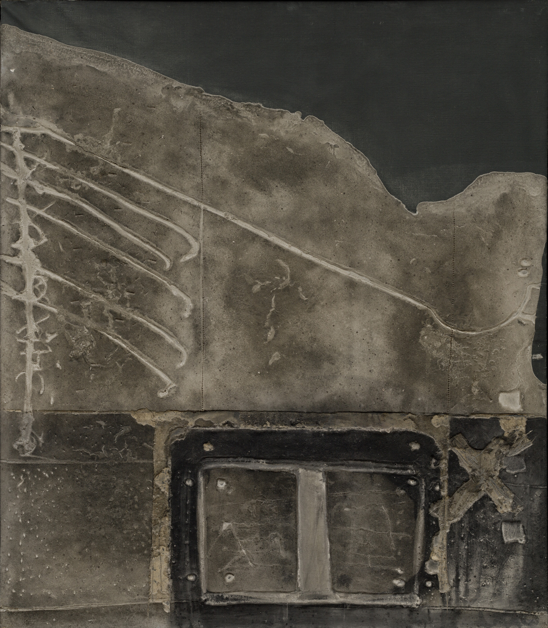 Antoni Tàpies. Gray Relief on Black. 1959