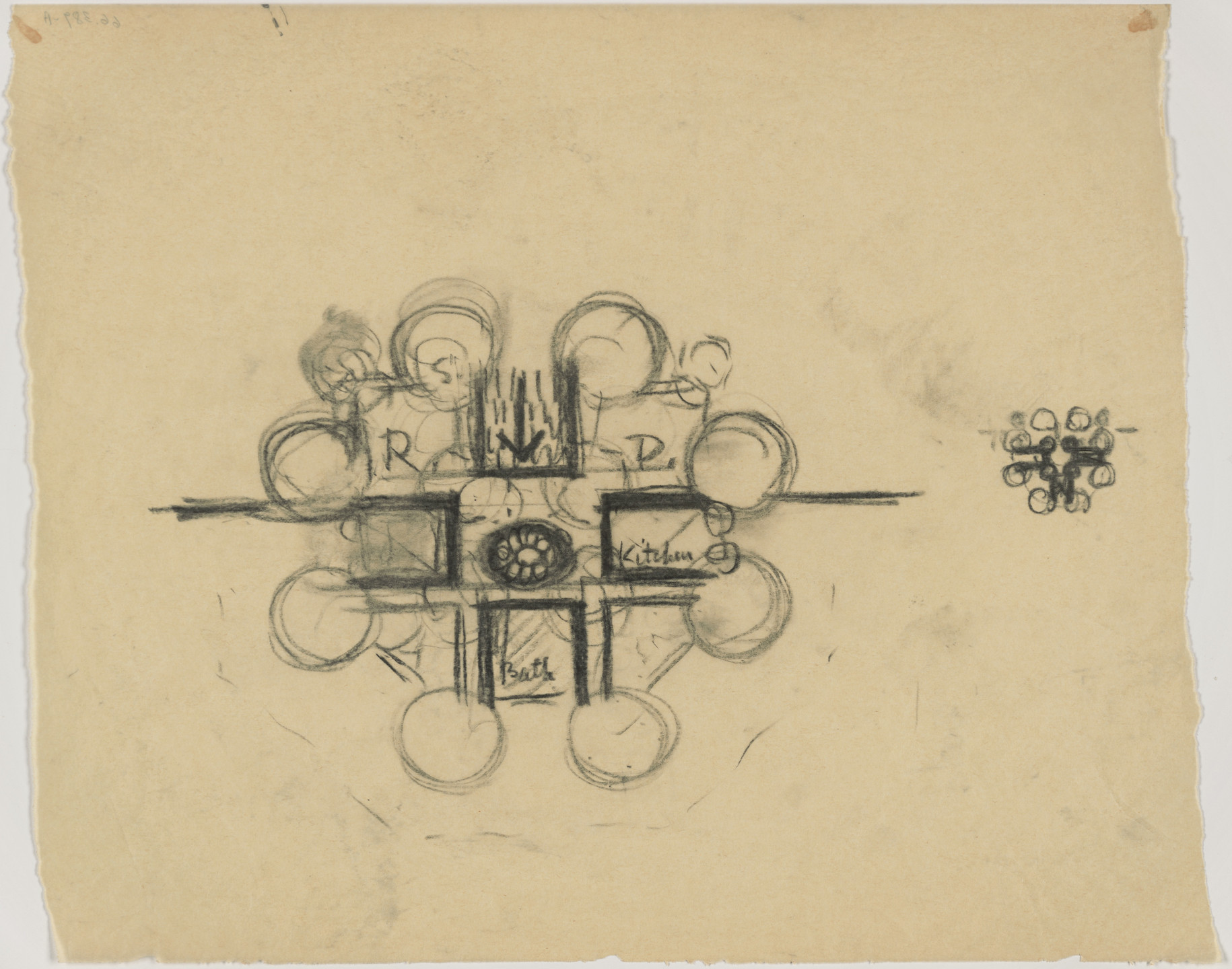 Louis I. Kahn. Eleanor Donnelley Erdman Hall, Bryn Mawr College, Bryn Mawr, Pennsylvania, Plan sketches. 1960-61