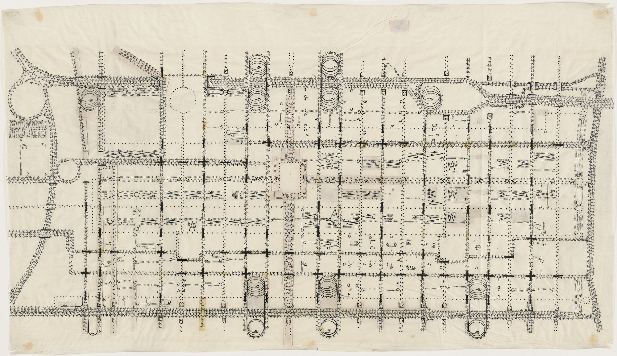 Louis I. Kahn. Traffic Study project , Philadelphia, PA (Plan of proposed traffic-movement pattern). 1952