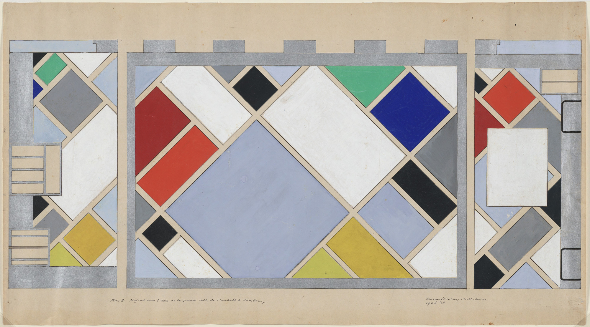 Theo van Doesburg. Preliminary color scheme for ceiling and short walls of dance hall in Café Aubette, Strasbourg, France. 1926–1928