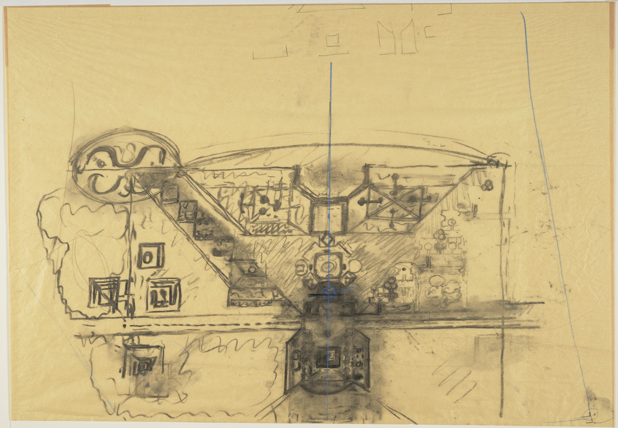 Louis I. Kahn. Sher-e-Bangla Nagar, Capital of Bangladesh, Dhaka, Bangladesh, Site-plan sketch. 1964
