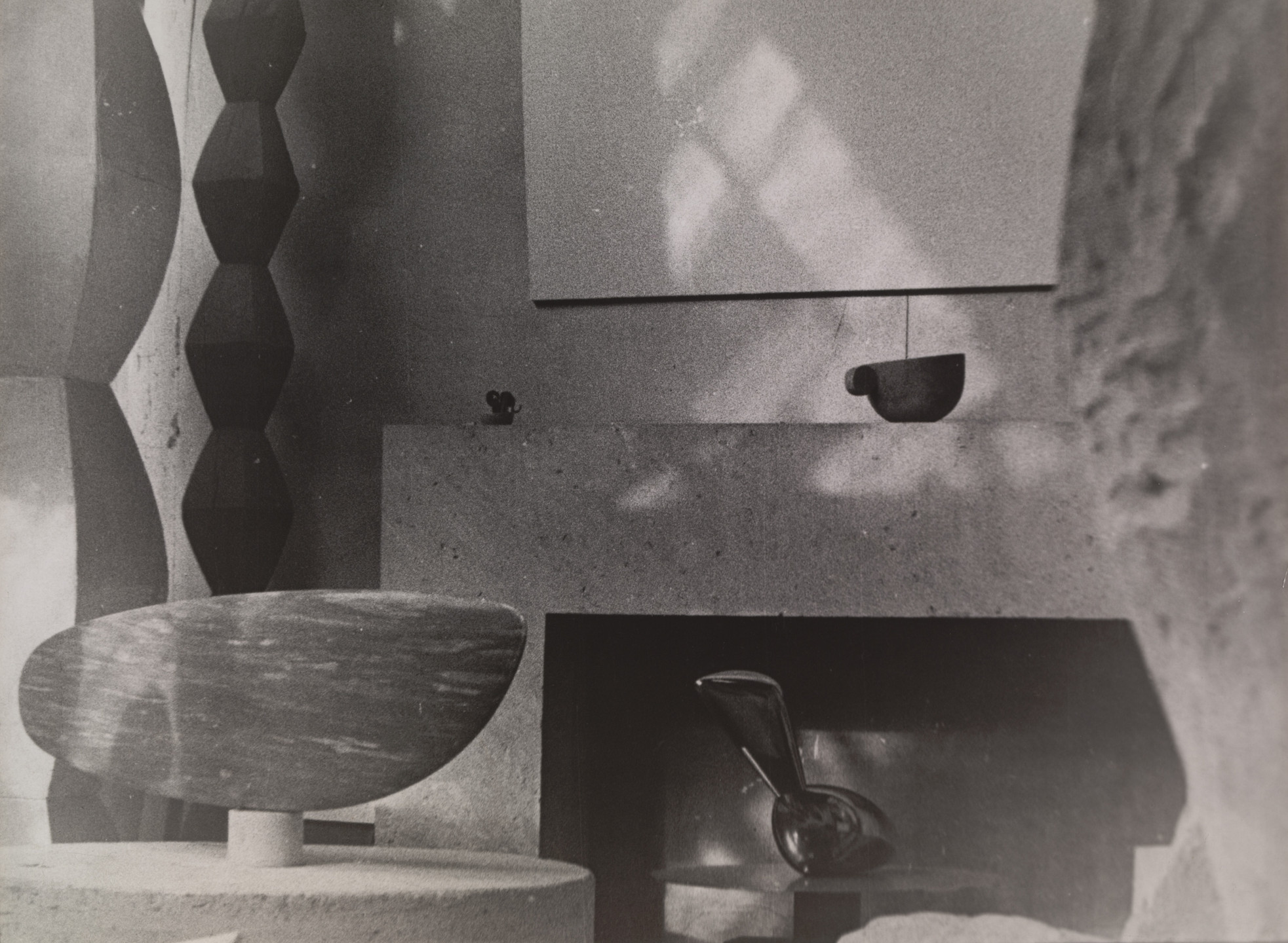 Constantin Brâncuși. Untitled (View of the Studio with Endless Columns III and IV, The Fish, Leda, and Cup II). c. 1933-34
