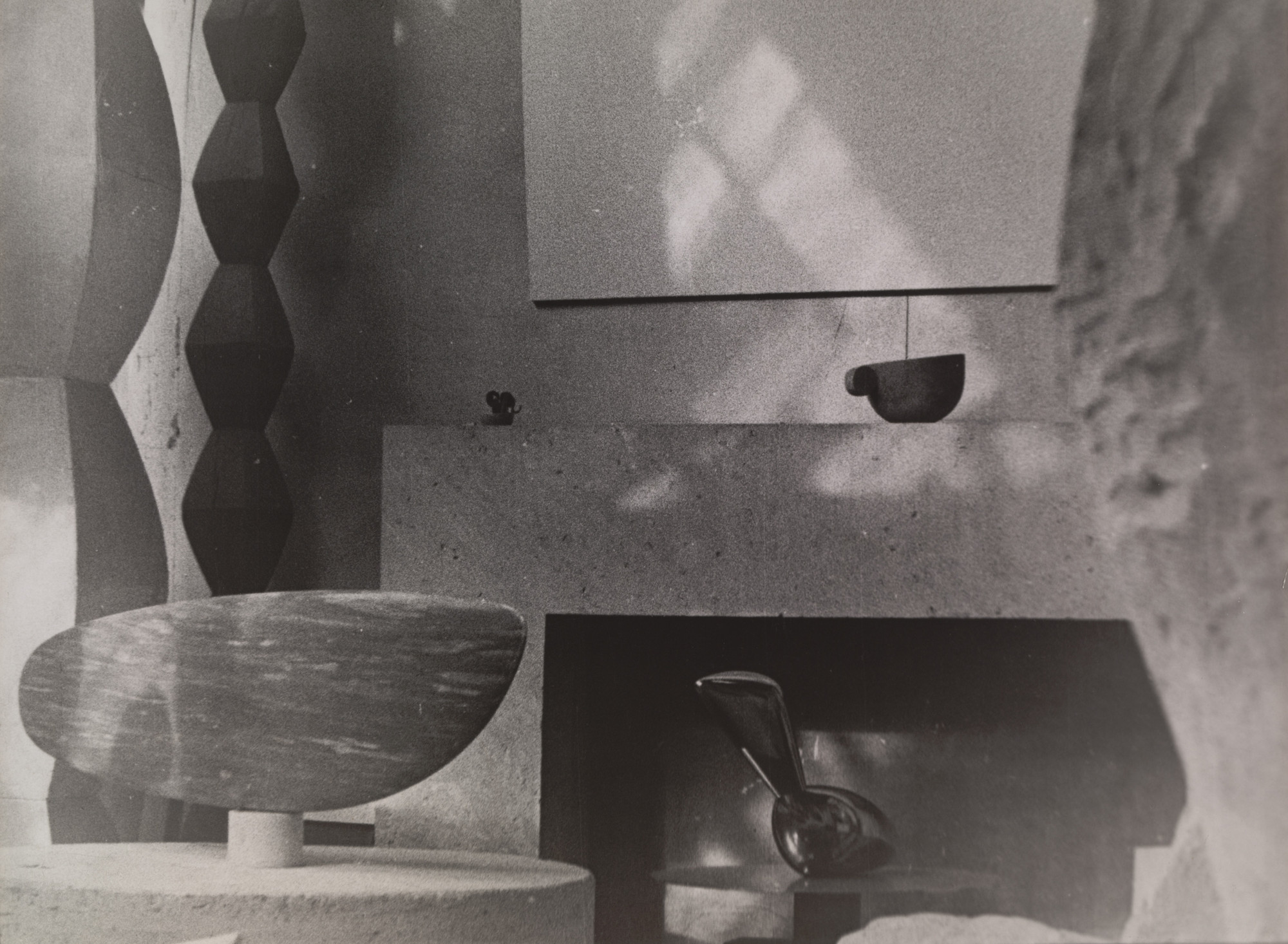 Constantin Brancusi. Untitled (View of the Studio with Endless Columns III and IV, The Fish, Leda, and Cup II). c. 1933-34