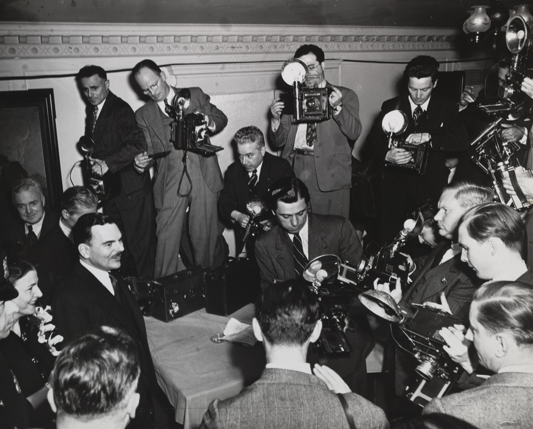 Weegee (Arthur Fellig). Thomas E. Dewey and Photographers. 1942