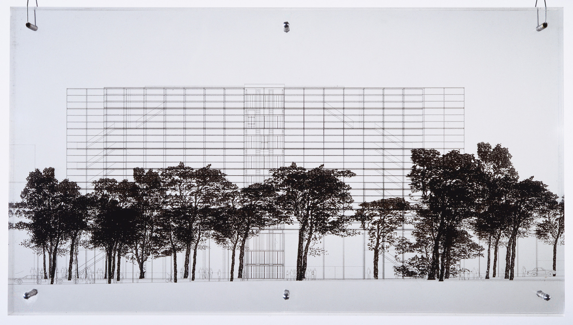 Jean Nouvel. Cartier Foundation for Contemporary Art, Paris, France, Elevation. 1992-93