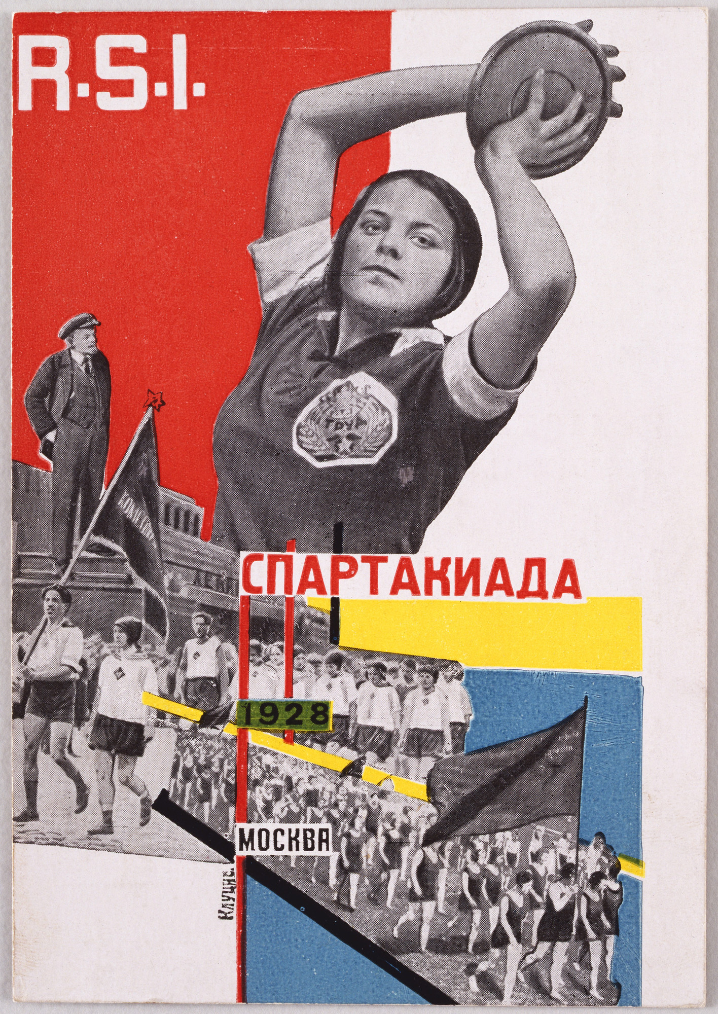 Gustav Klutsis. Postcard for the All Union Spartakiada Sporting Event, Spartakiada Moskva. 1928