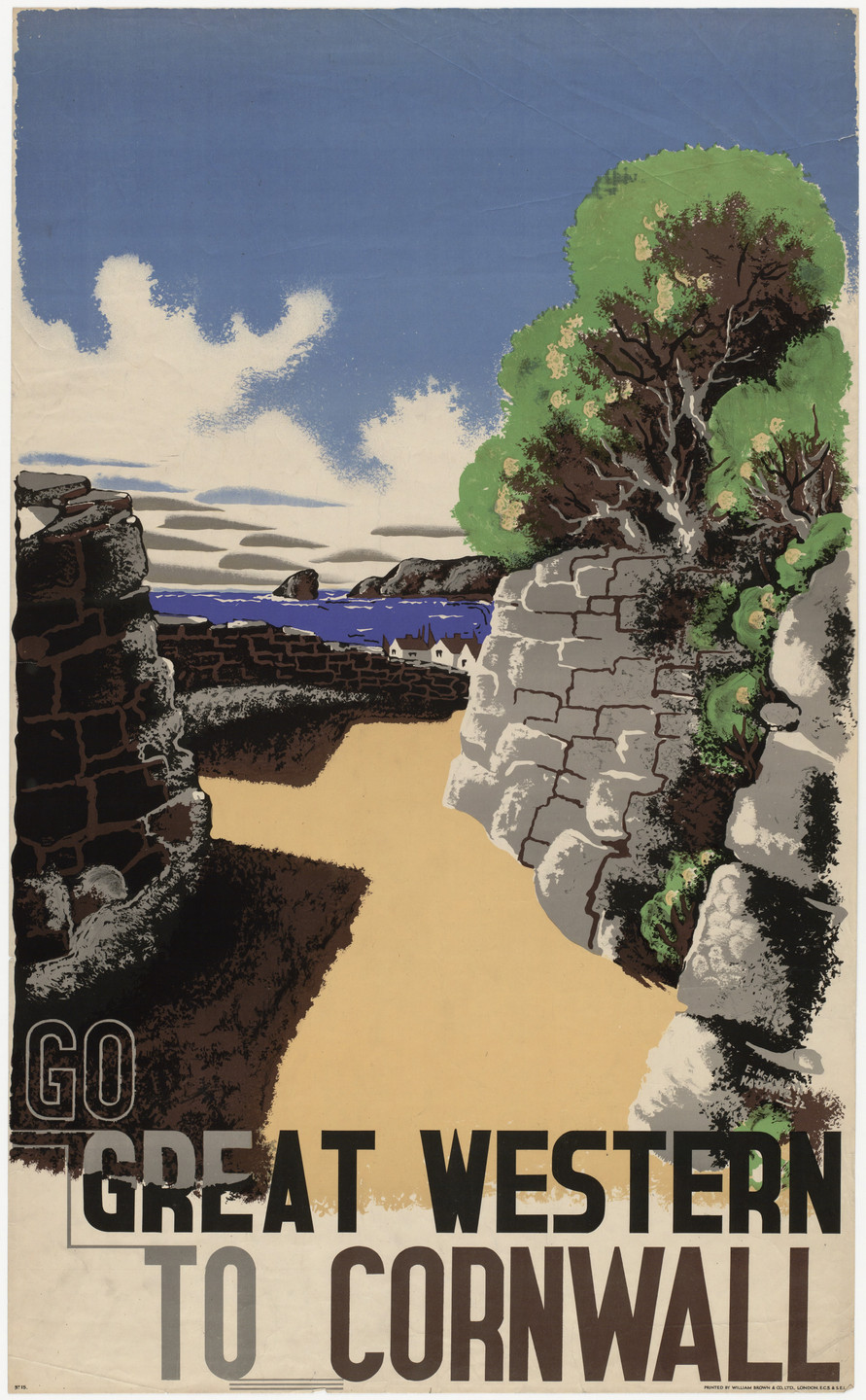 E. McKnight Kauffer. Go Great Western to Cornwall. 1932