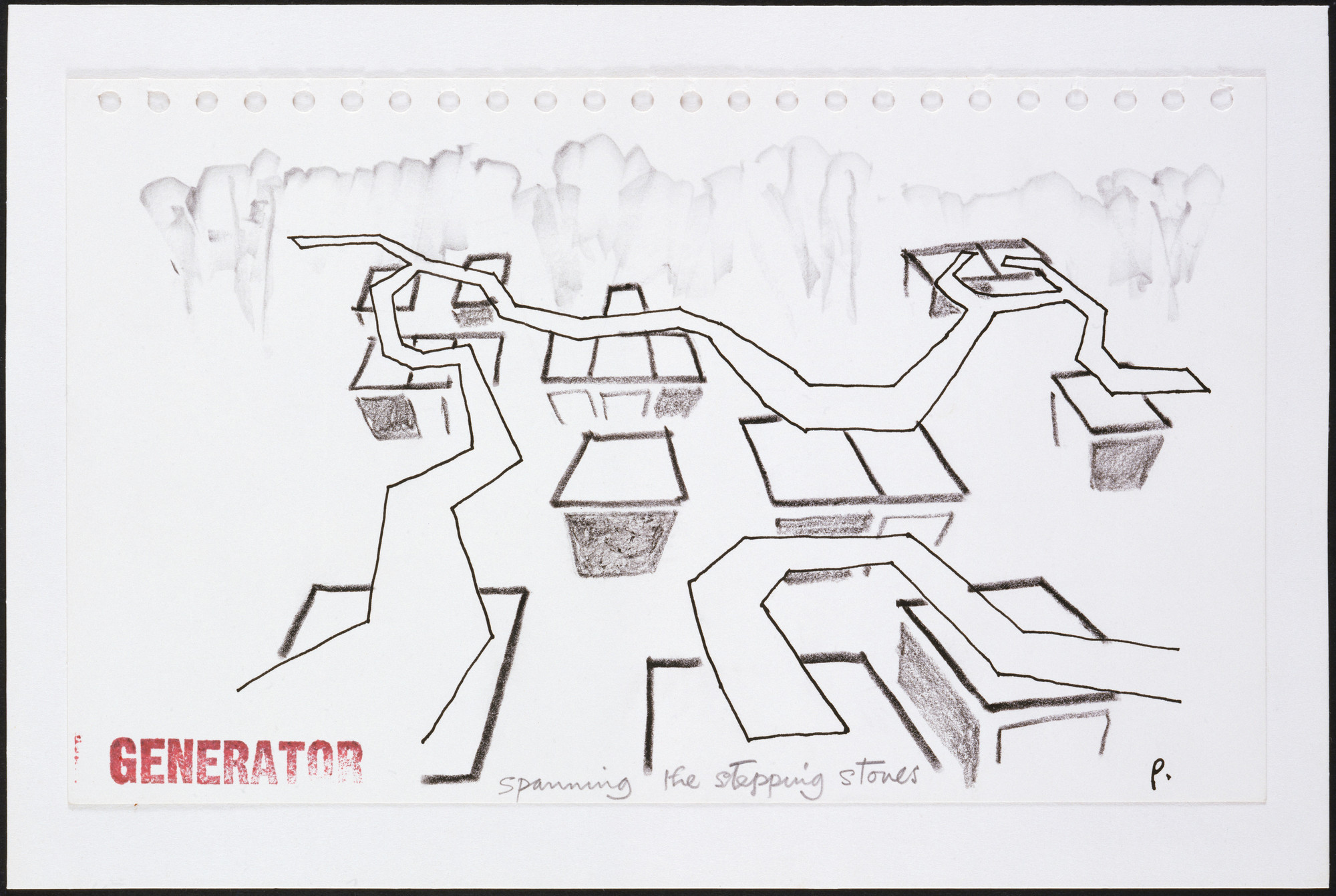 "Cedric Price. Generator Project, White Oak, Florida (Perpsective sketch, ""Spanning the Stepping Stones""). 1978-80"