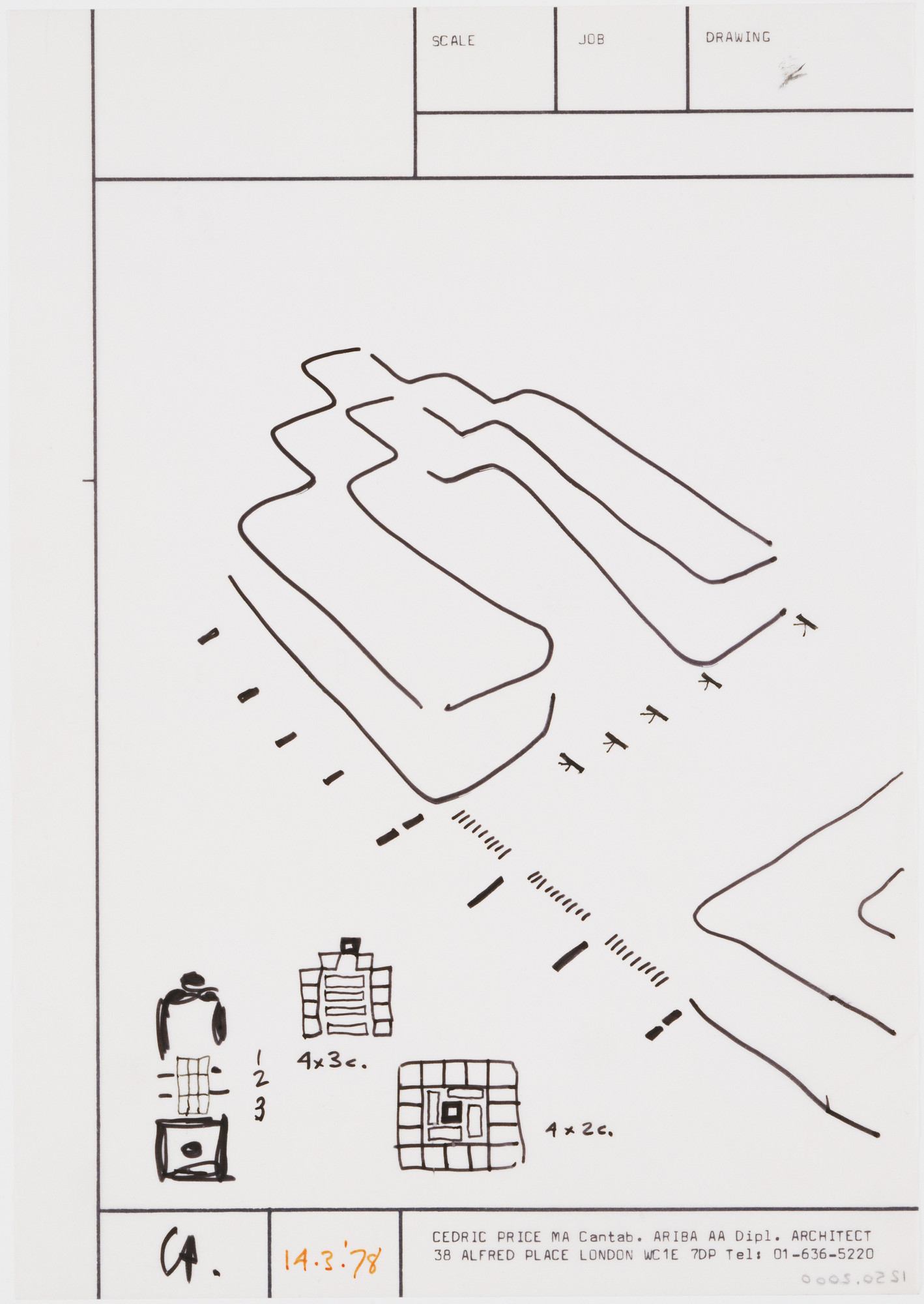 Cedric Price. Generator Project, White Oak, Florida, Plan, elevation, and perspective. 1978