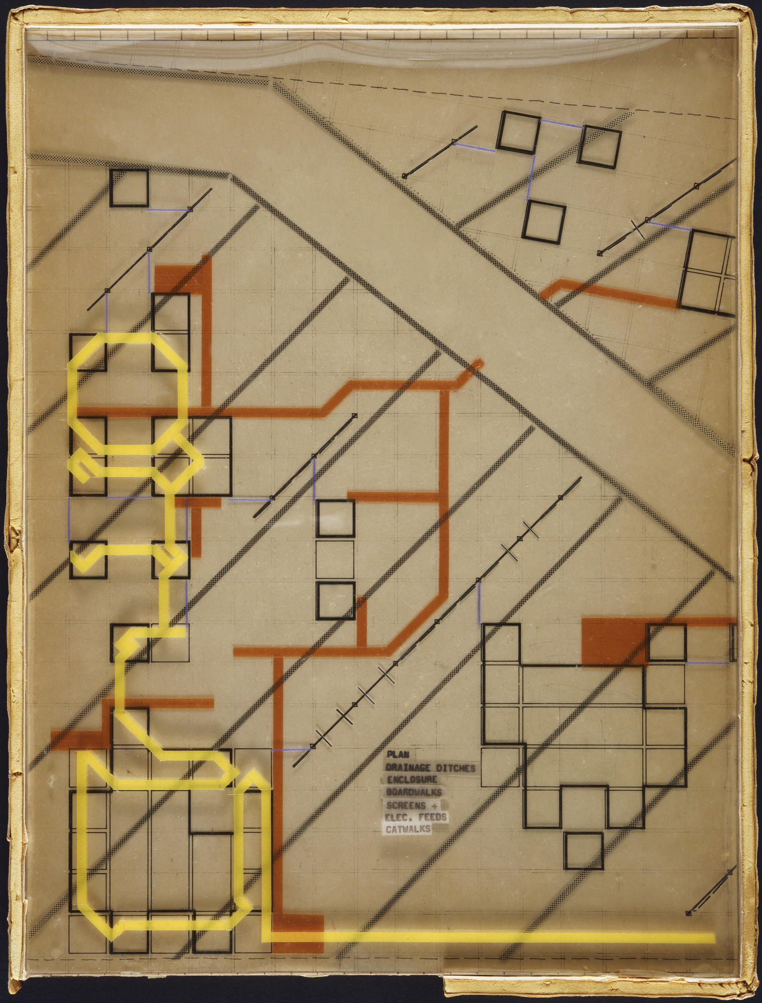 Cedric Price. Generator Project, White Oak, Florida, Plan of Service and Structure with Key. 1978-80