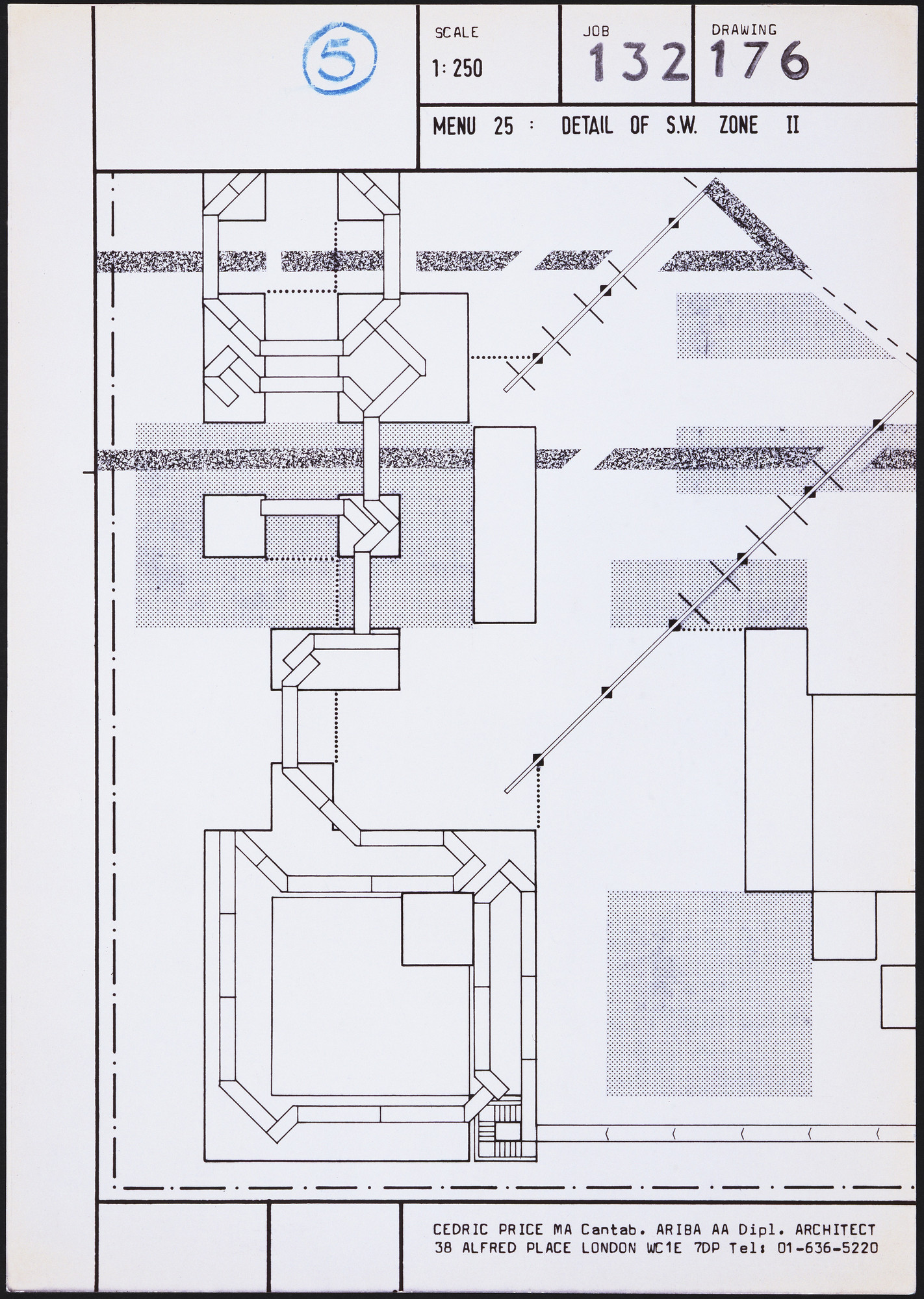 Cedric Price. Generator Project, White Oak, Florida, Plan of Menu 25, Ddetail of S.W. Zone II. 1978-80