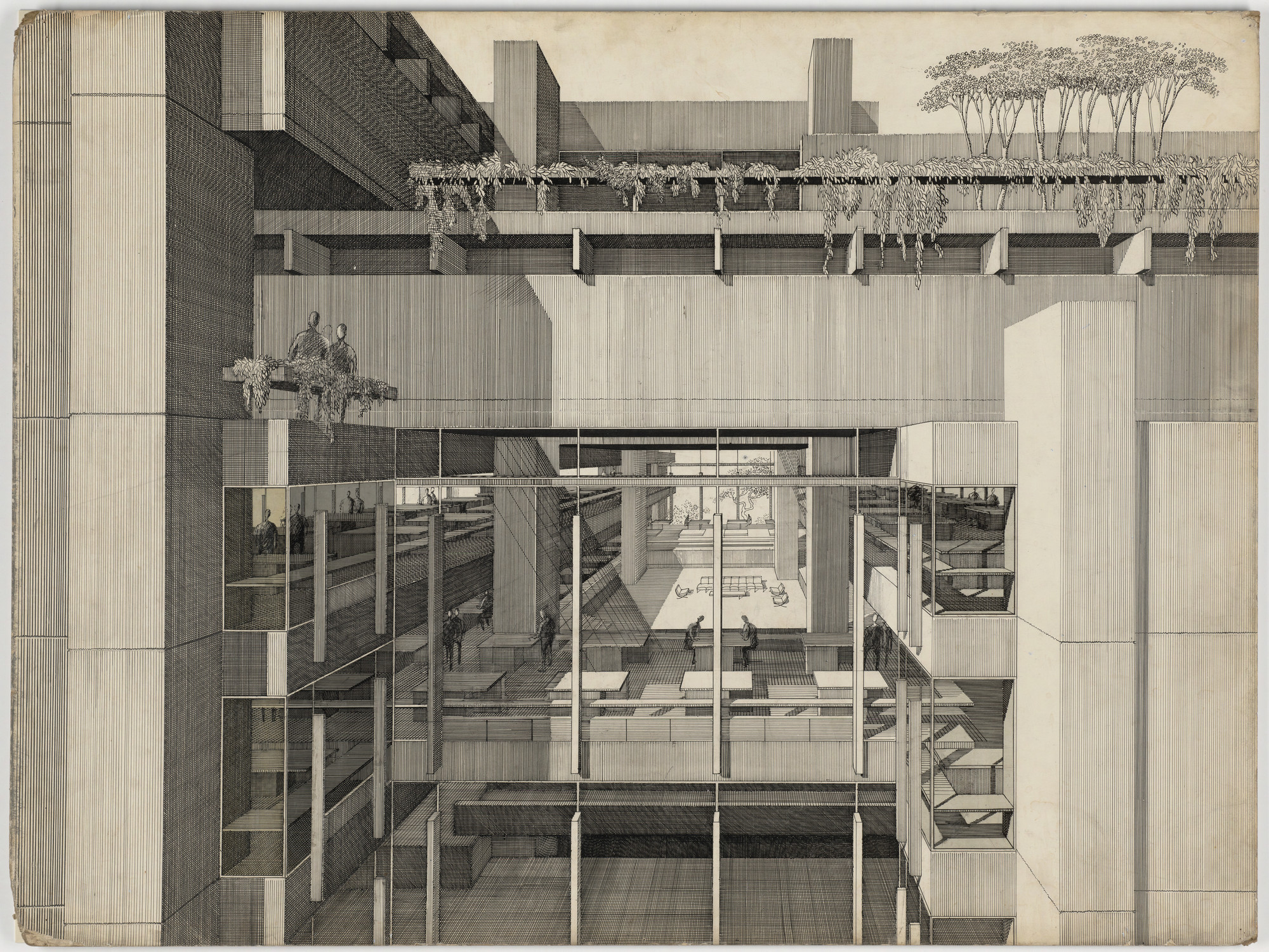 Paul rudolph art and architecture building yale university new haven connecticut partial exterior perspective 1958