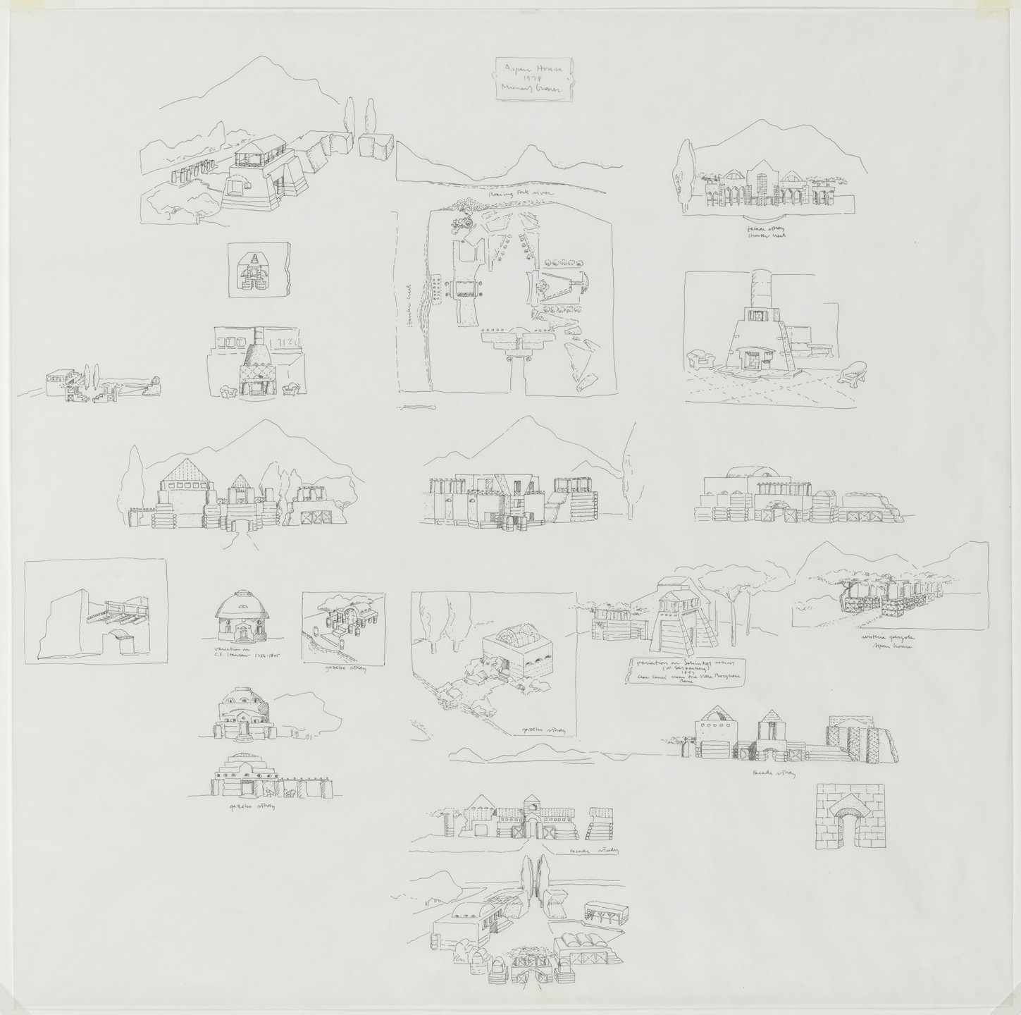 Michael Graves. Vacation House Project, Aspen, Colorado, Elevations, interior and exterior perspectives and plan. 1978