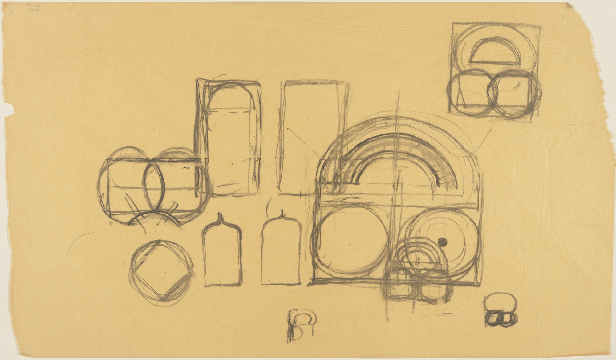 Louis I. Kahn. Sher-e-Bangla Nagar, Capital of Bangladesh, Dhaka, Bangladesh, Prayer Hall: plan sketches. 1965