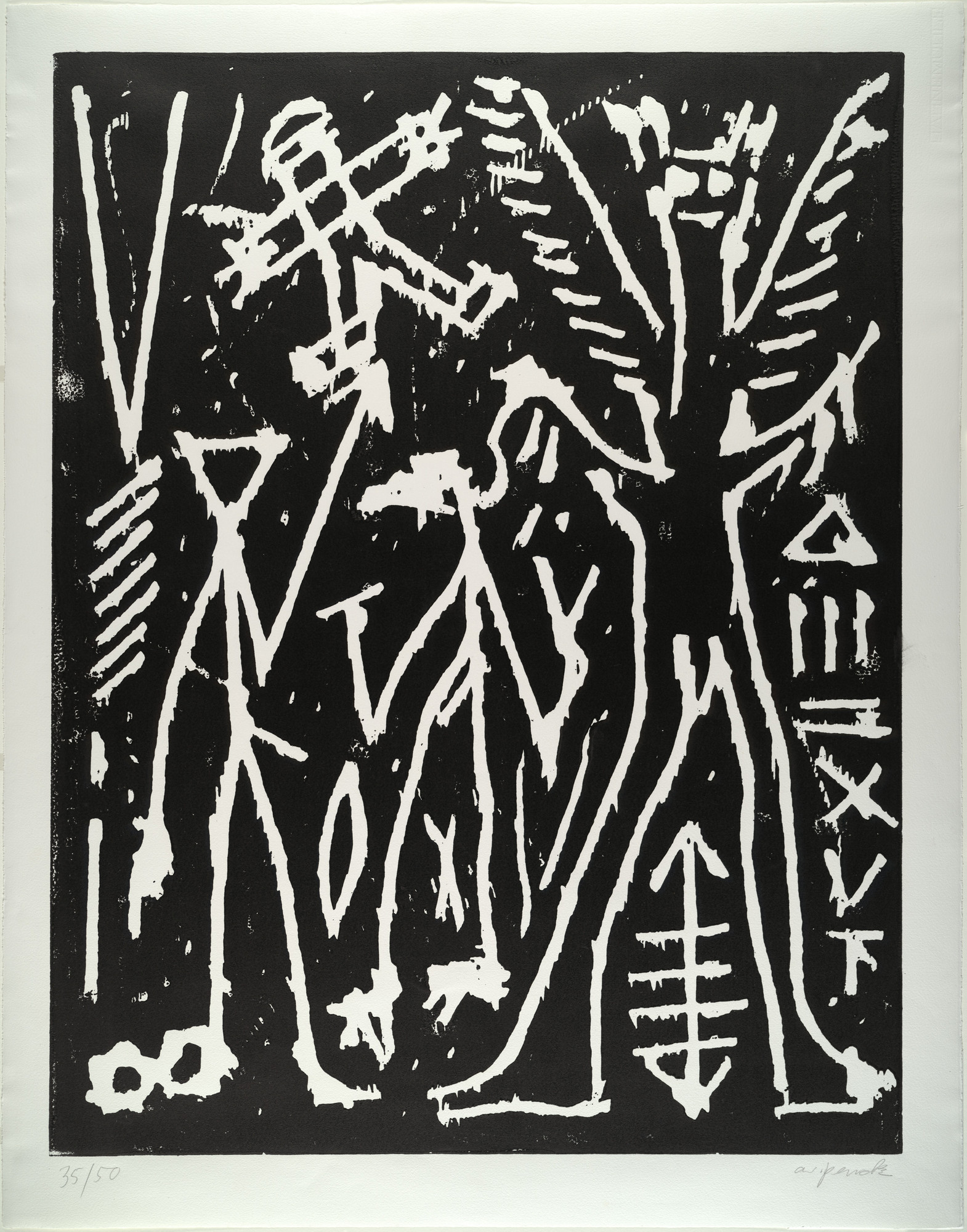 A.R. Penck (Ralf Winkler). Nachtvision (Nightvision) from Erste Konzentration I (First Concentration I). (1982)